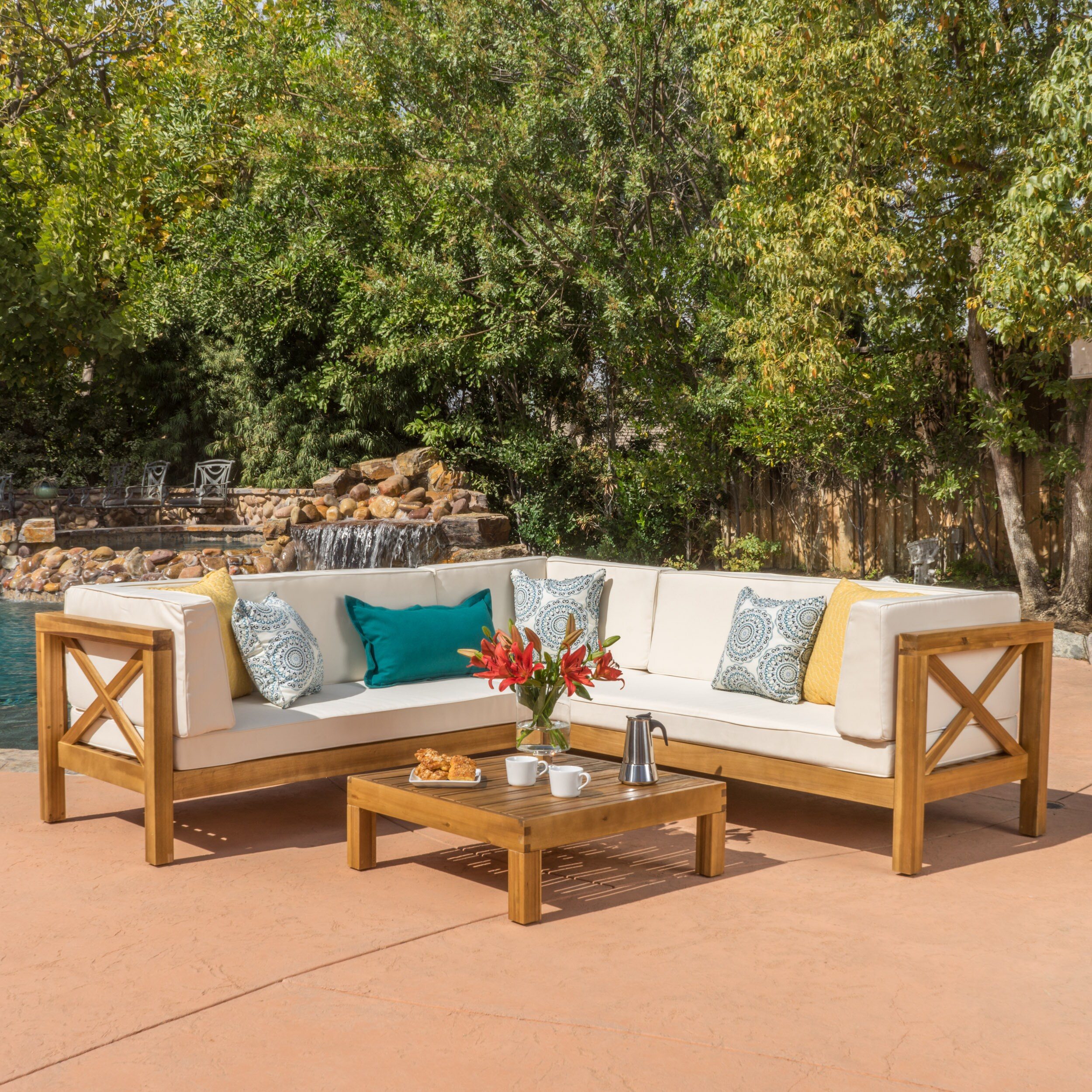 Brava Outdoor 4 Piece Wood Sectional Set W Cushions By Christopher Knight Home Free Shipping Today 13160355