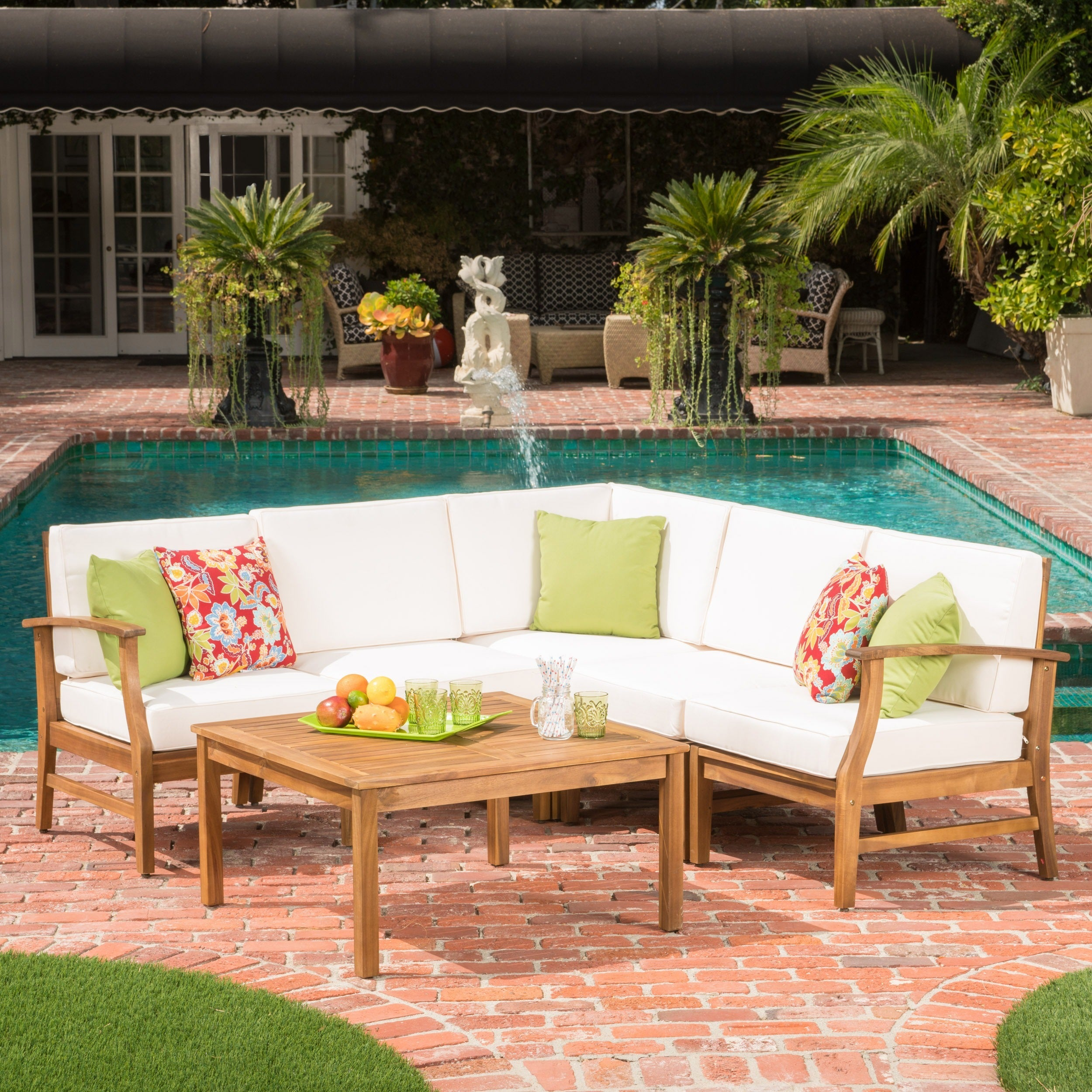 Perla 6-Piece Outdoor Wood Chat Set w/ Cushions by Christopher Knight Home  - Free Shipping Today - Overstock.com - 19889704