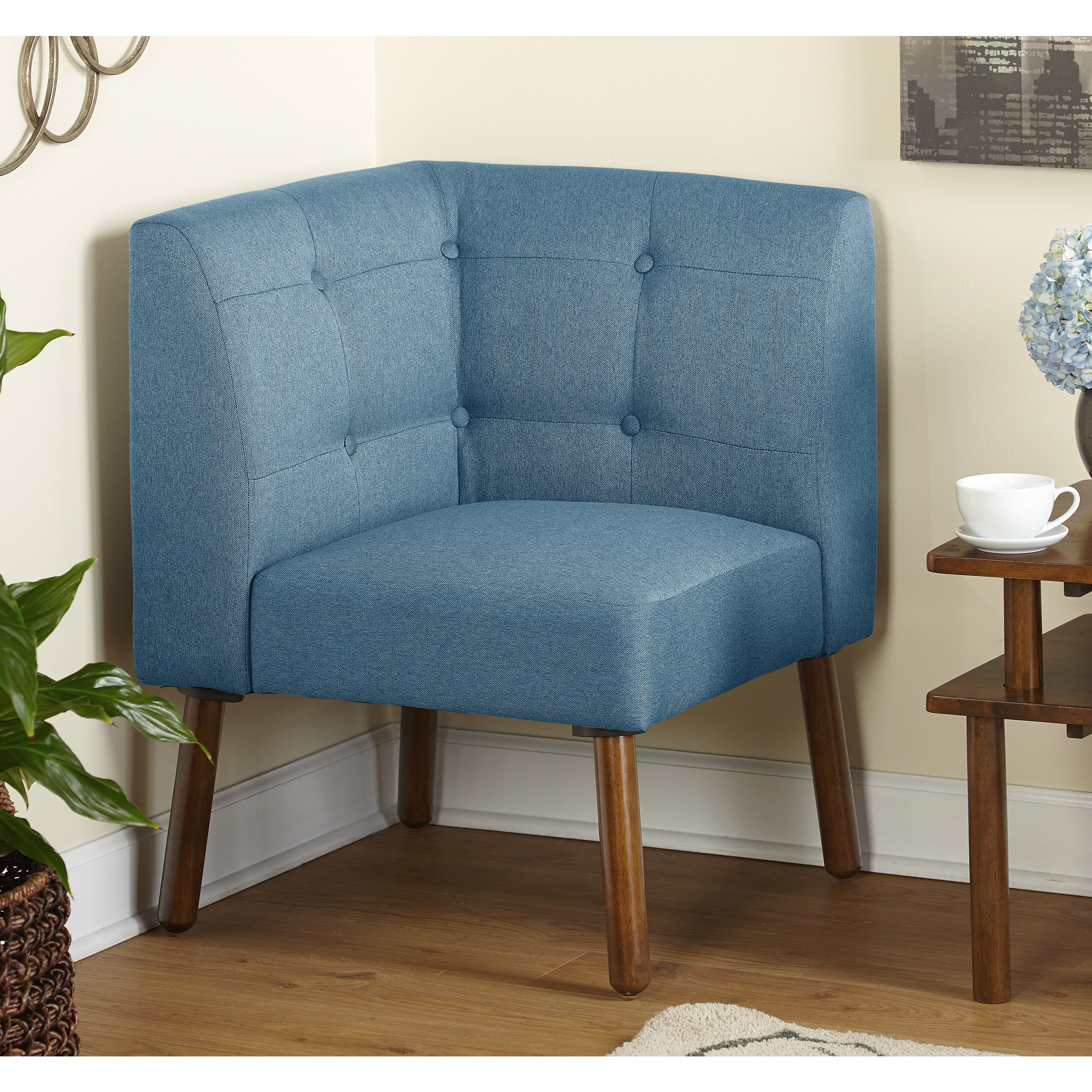 Simple Living Wood Fabric Playmate Corner Chair Ships To Canada 13164460