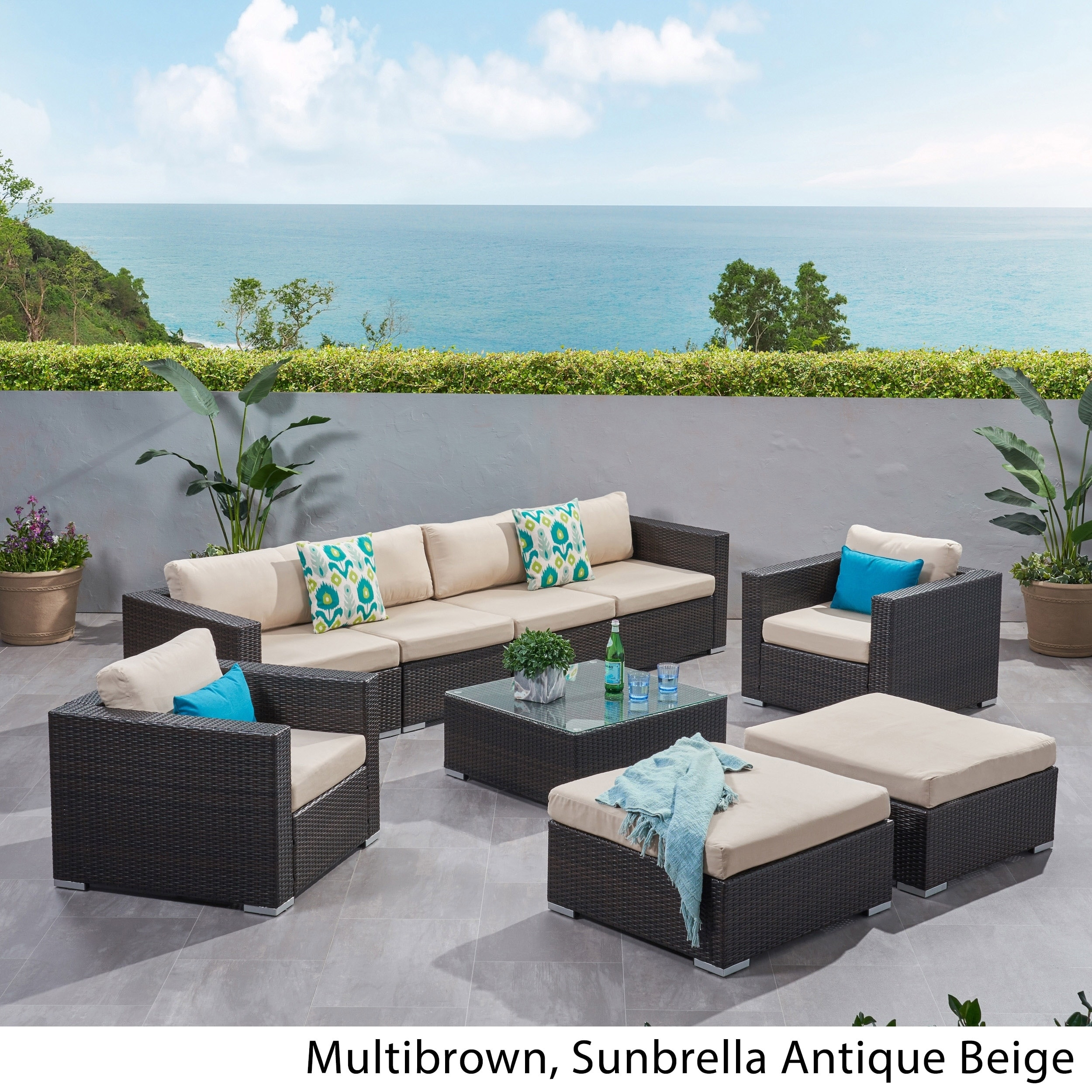 Shop Santa Rosa Outdoor Wicker 9 Piece Sectional Sofa With Cushions