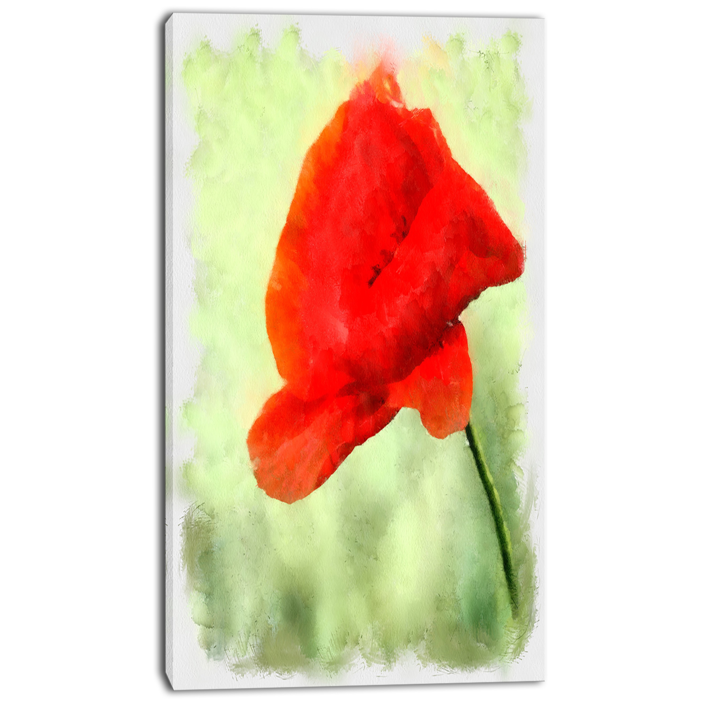 Shop Designart Big Red Poppy Flower Watercolor Flower Canvas Print