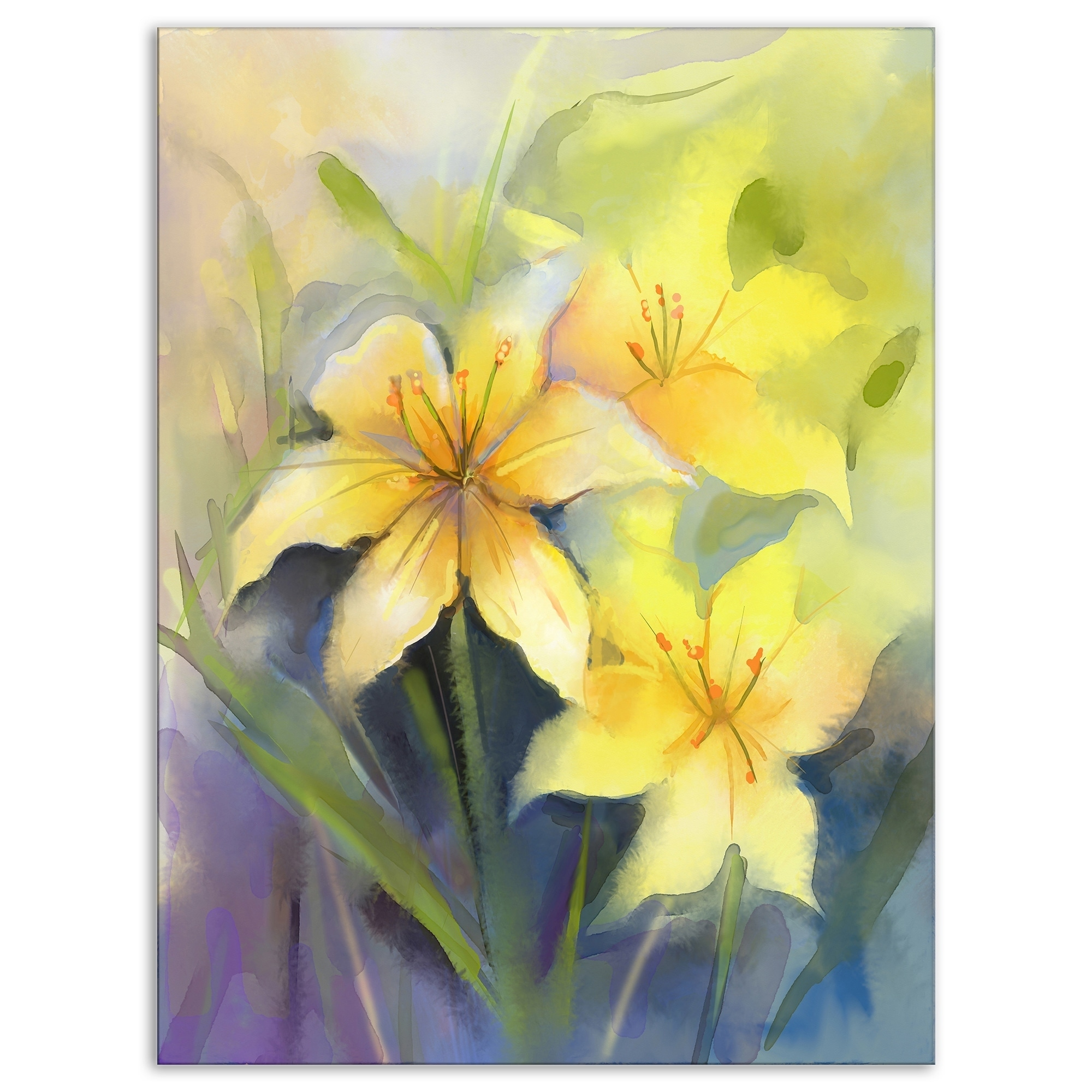 Shop watercolor painting yellow lily flower large floral canvas shop watercolor painting yellow lily flower large floral canvas artwork free shipping on orders over 45 overstock 13164998 izmirmasajfo
