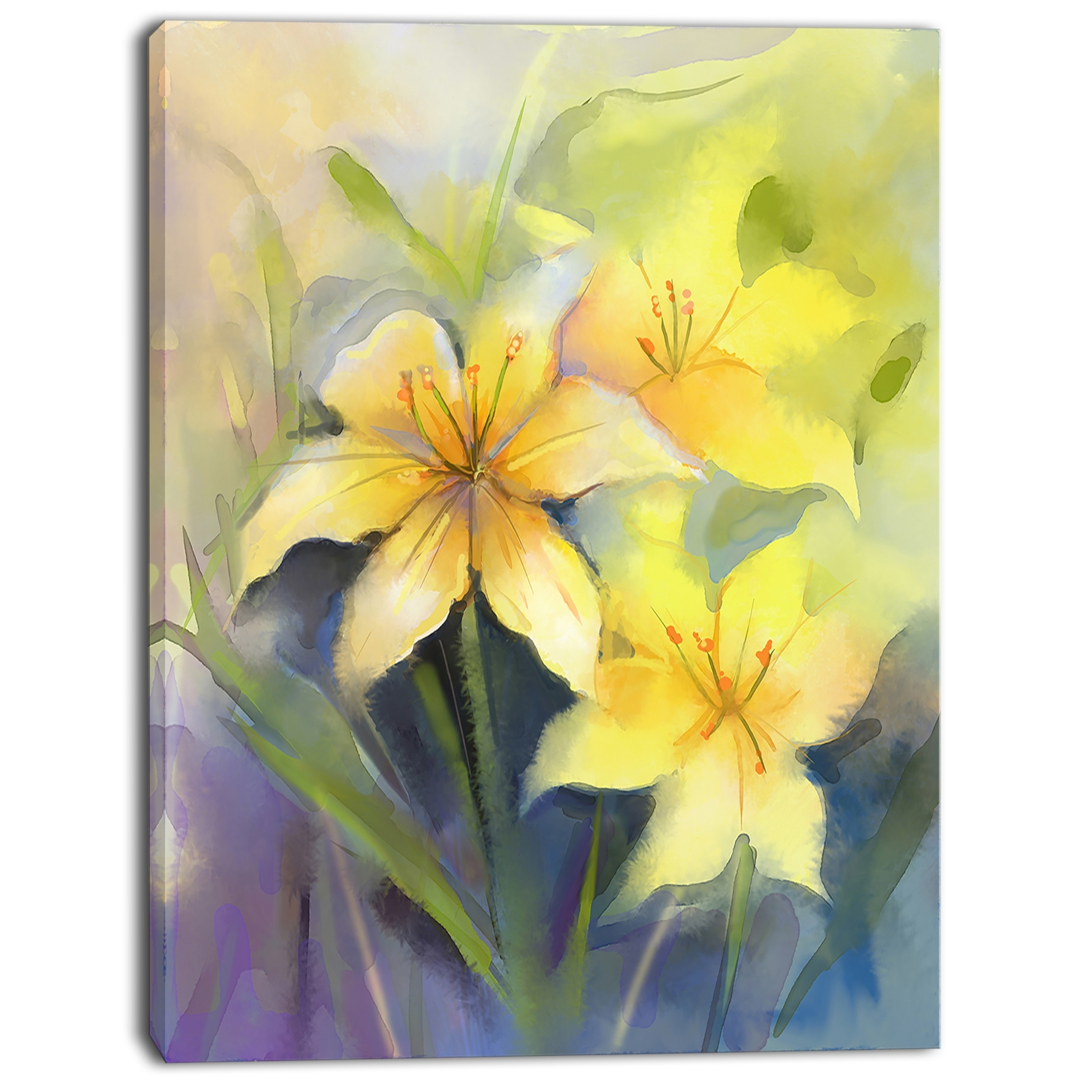 Shop Watercolor Painting Yellow Lily Flower Large Floral Canvas