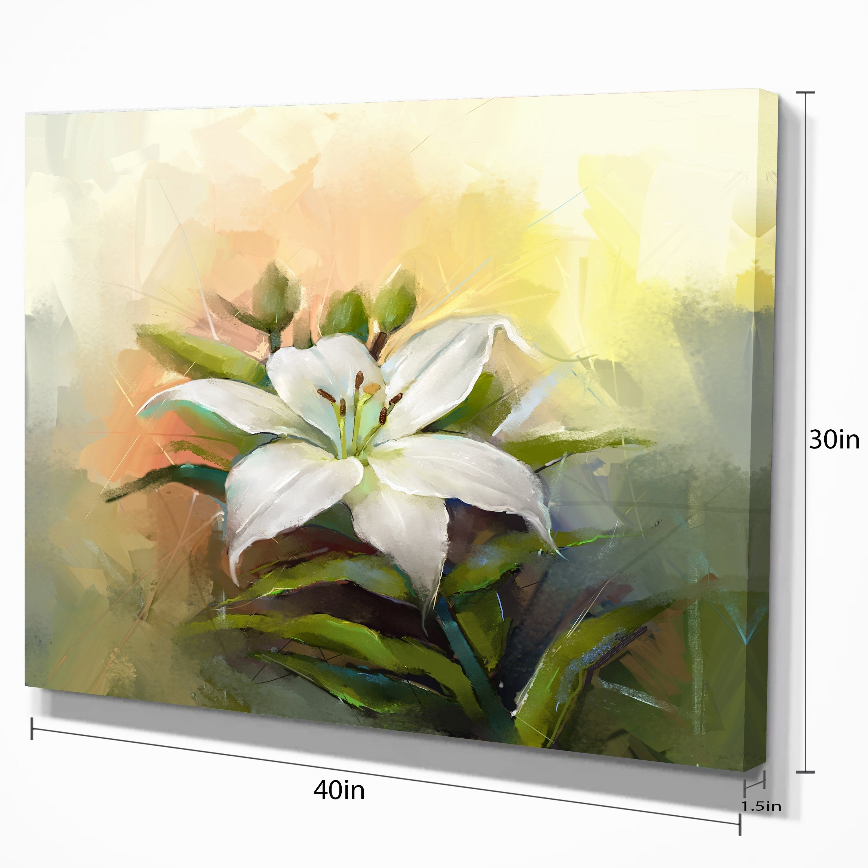 White Lily Flower Oil Painting Modern Floral Wall Art Canvas