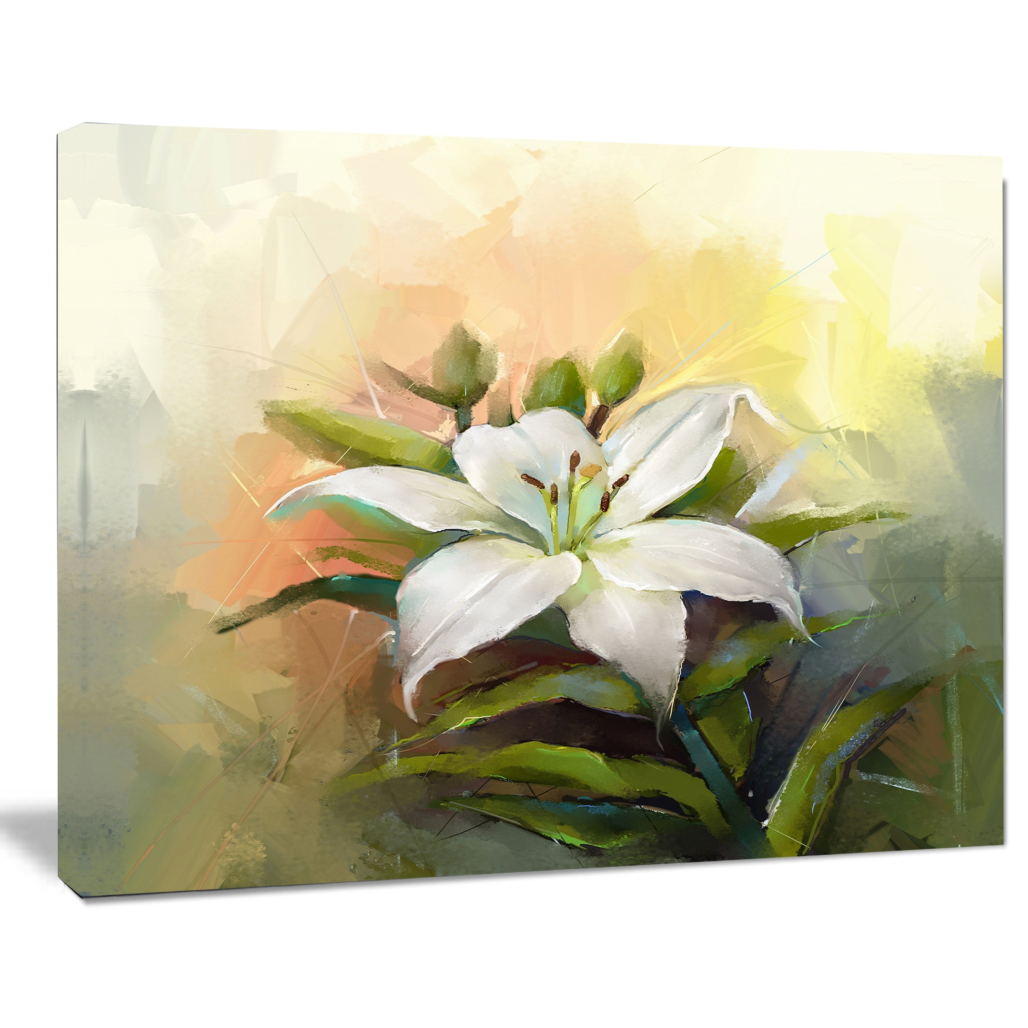 Shop White Lily Flower Oil Painting\' Modern Floral Wall Art Canvas ...