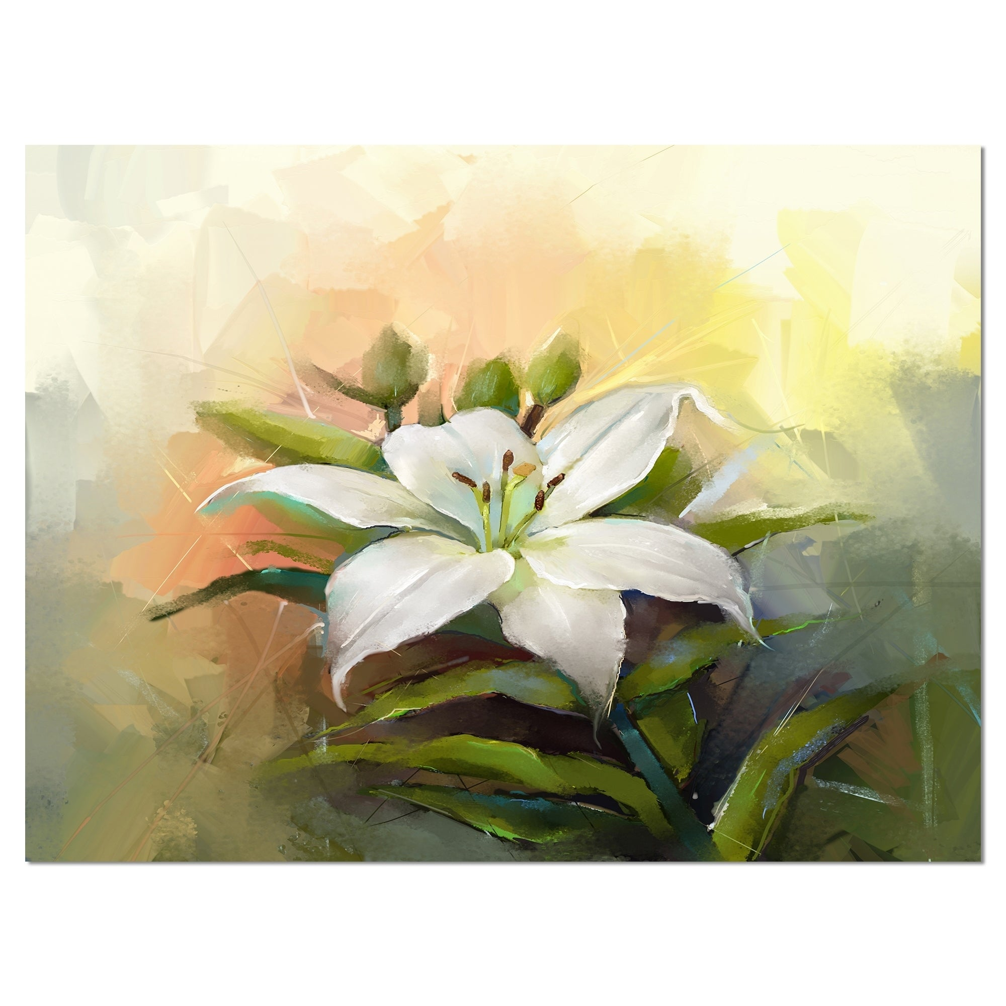 Shop White Lily Flower Oil Painting Modern Floral Wall Art Canvas