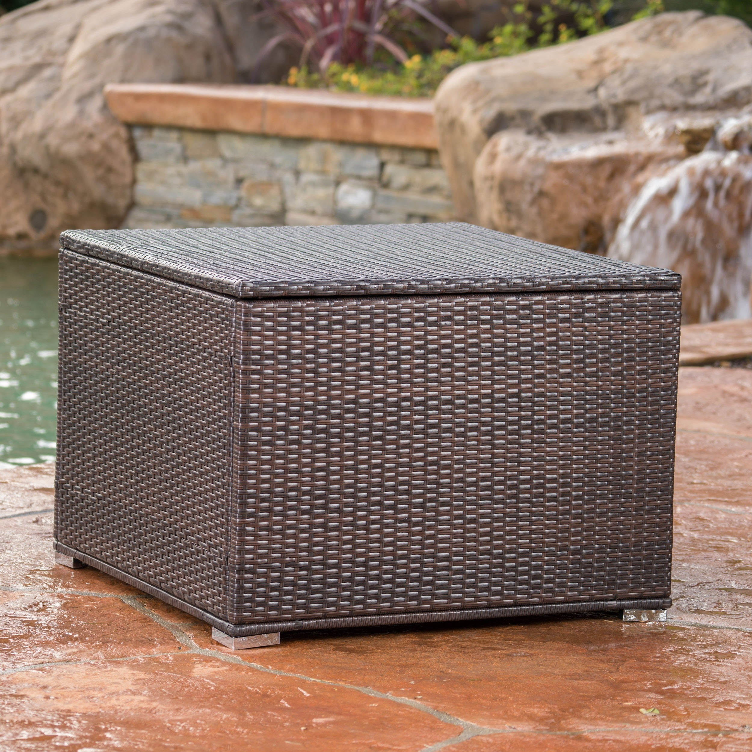 Santa Rosa Outdoor Wicker Storage Box By Christopher Knight Home   Free  Shipping Today   Overstock.com   19890301