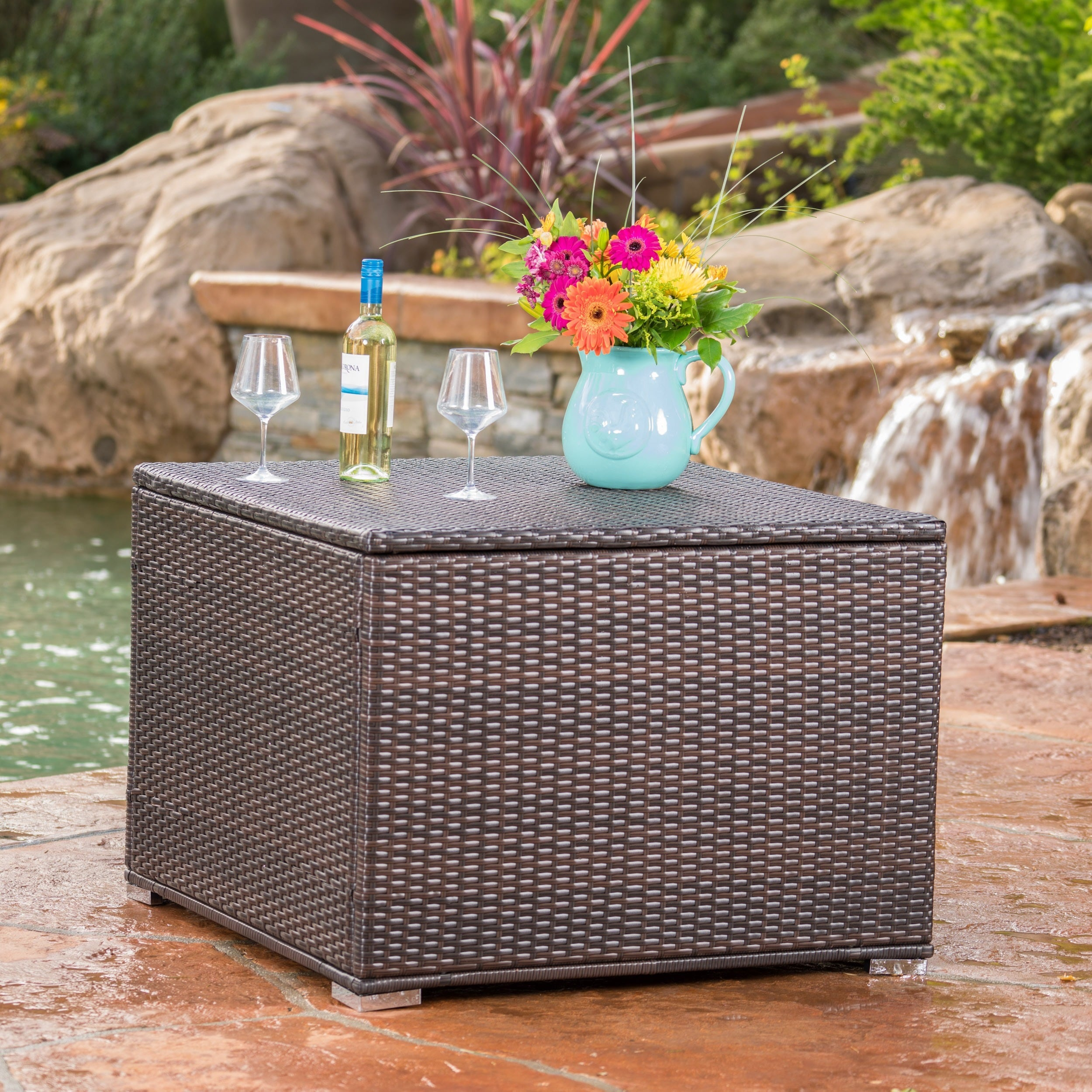Exceptional Shop Santa Rosa Outdoor Wicker Storage Box By Christopher Knight Home    Free Shipping Today   Overstock.com   13165181