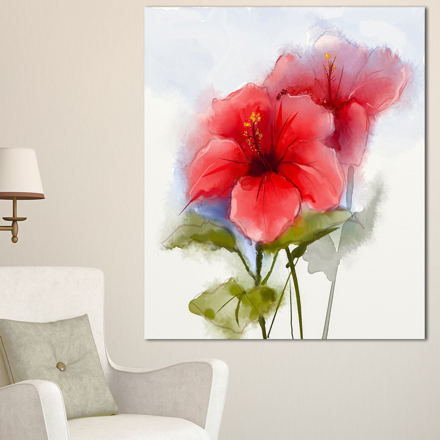 Designart watercolor painting red hibiscus flower modern floral designart watercolor painting red hibiscus flower modern floral wall art canvas free shipping on orders over 45 overstock 19900490 izmirmasajfo