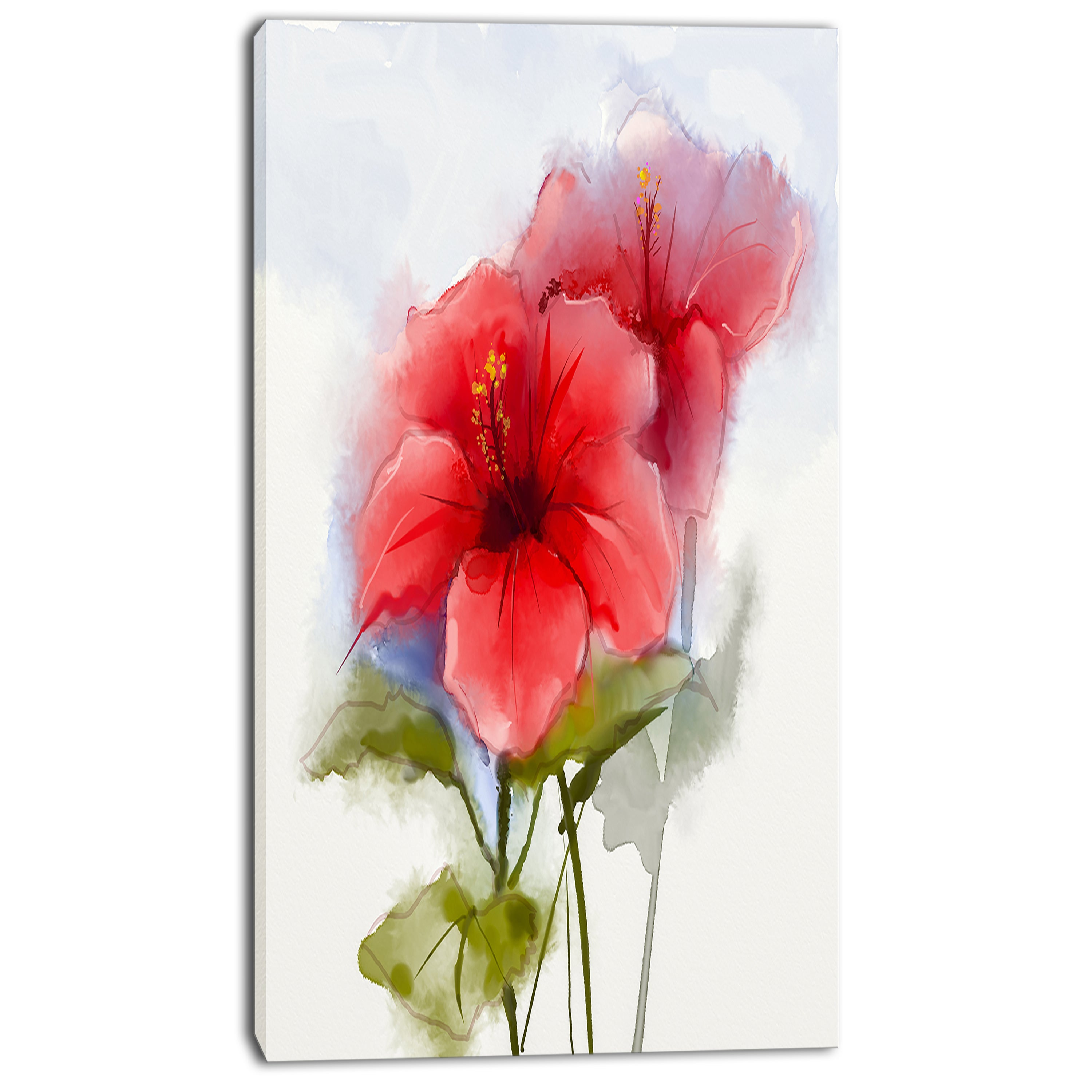 Shop designart watercolor painting red hibiscus flower modern shop designart watercolor painting red hibiscus flower modern floral wall art canvas free shipping on orders over 45 overstock 13177351 izmirmasajfo