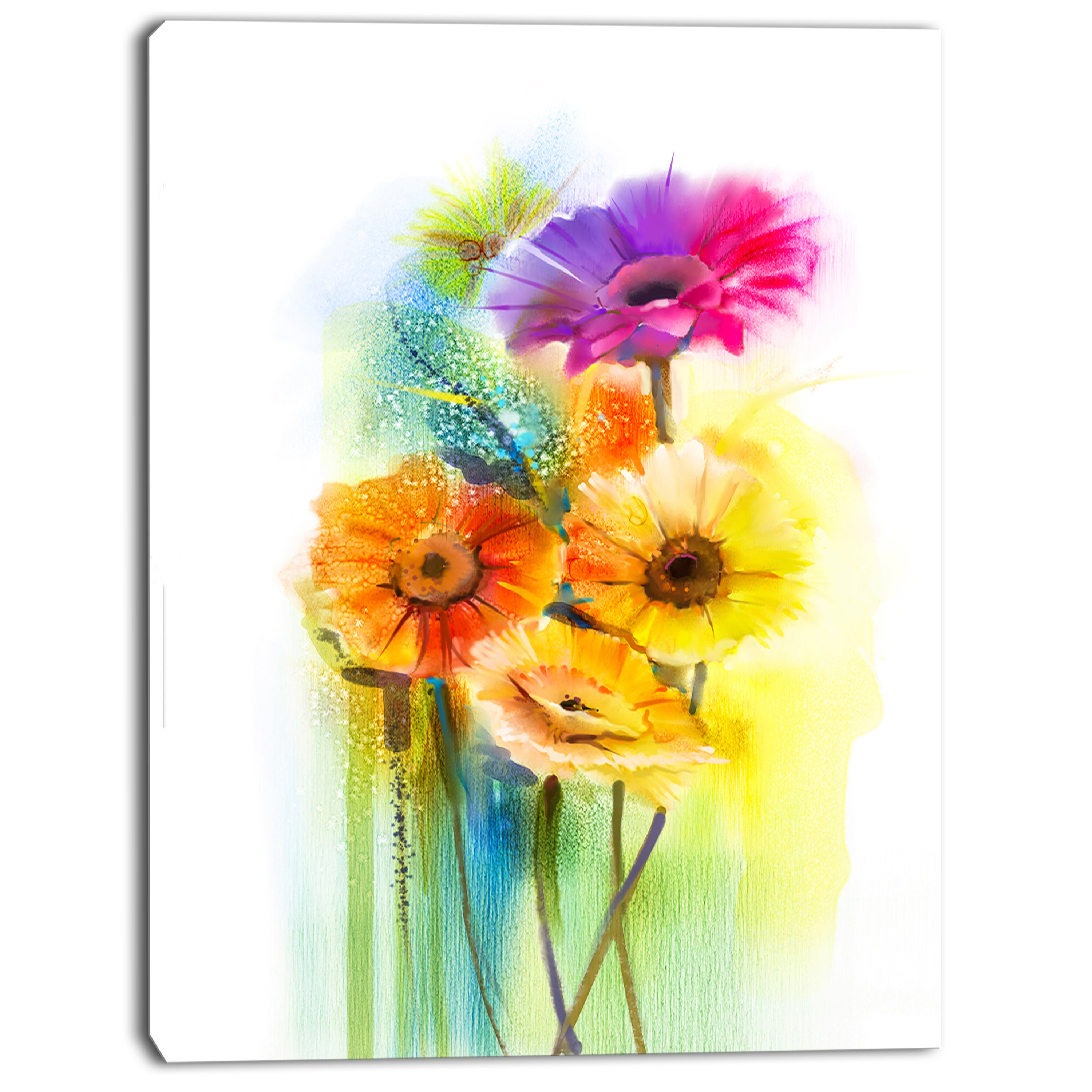 Designart \'Yellow Orange Purple Gerbera Flowers\' Modern Floral Wall ...