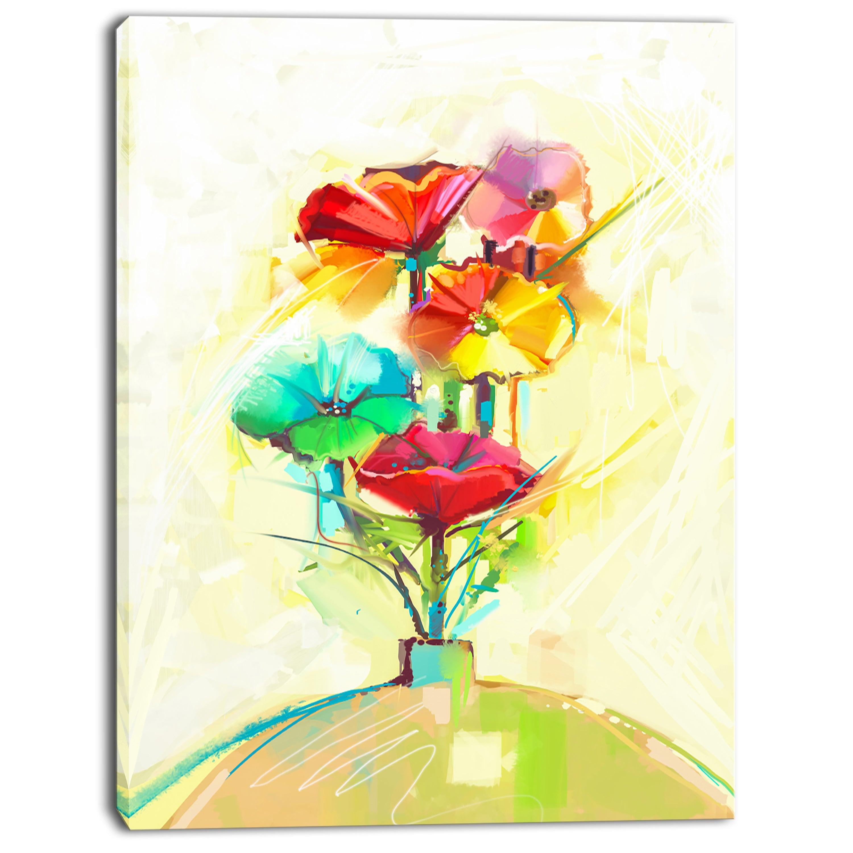 Designart \'Spring Flowers Bouquet in a Vase\' Modern Floral Wall Art ...