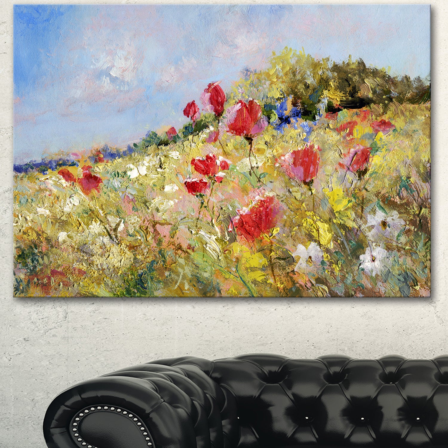 Designart \'Painted Poppies on Summer Meadow\' Landscape Wall Art Print Canvas - Green