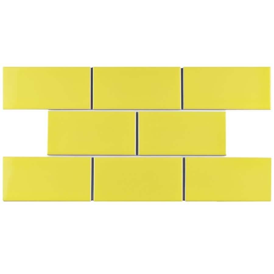 Shop SomerTile 3x6-inch Malda Subway Glossy Canary Yellow Ceramic ...