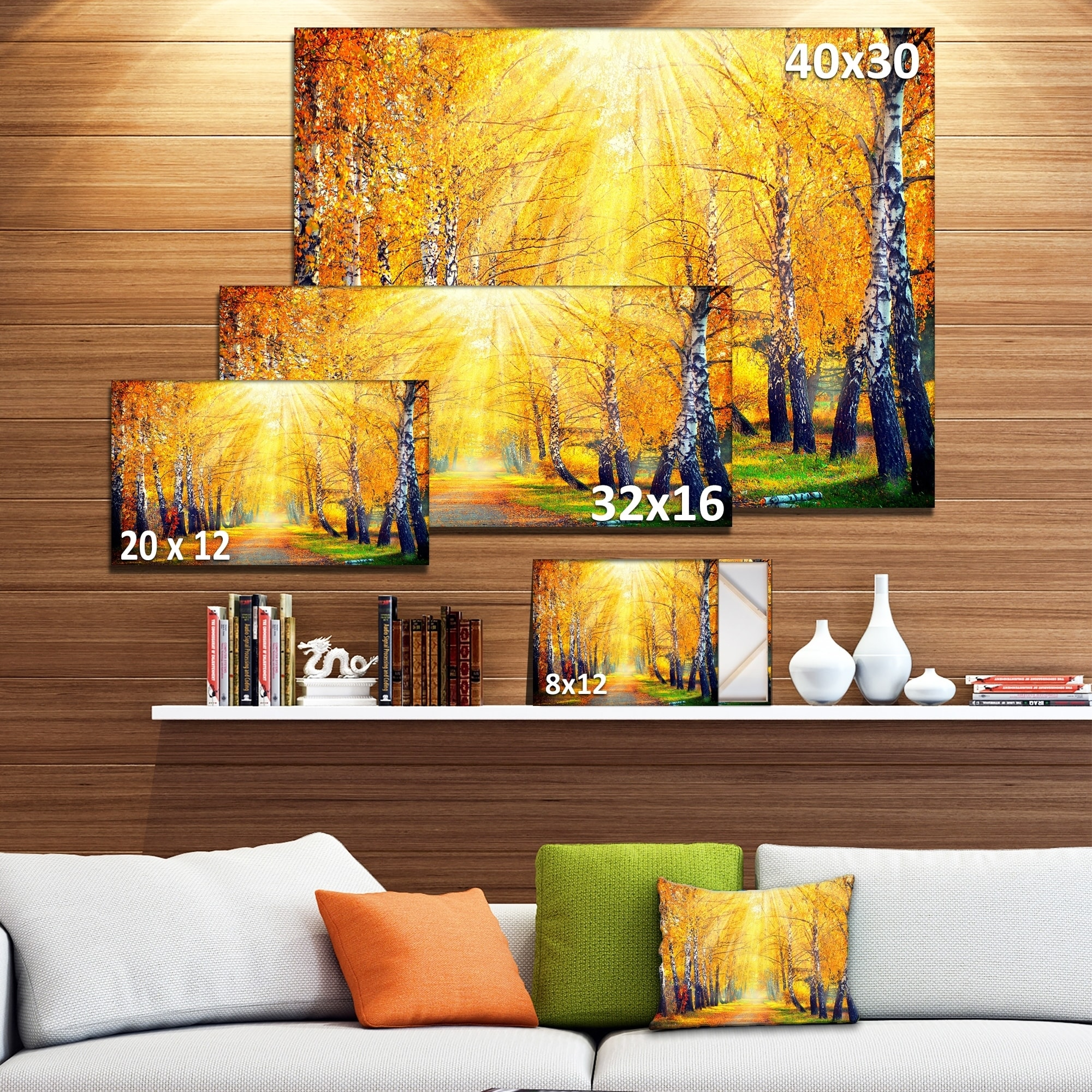 Shop Yellow Autumn Trees in Sunray\' Landscape Art Canvas Print ...