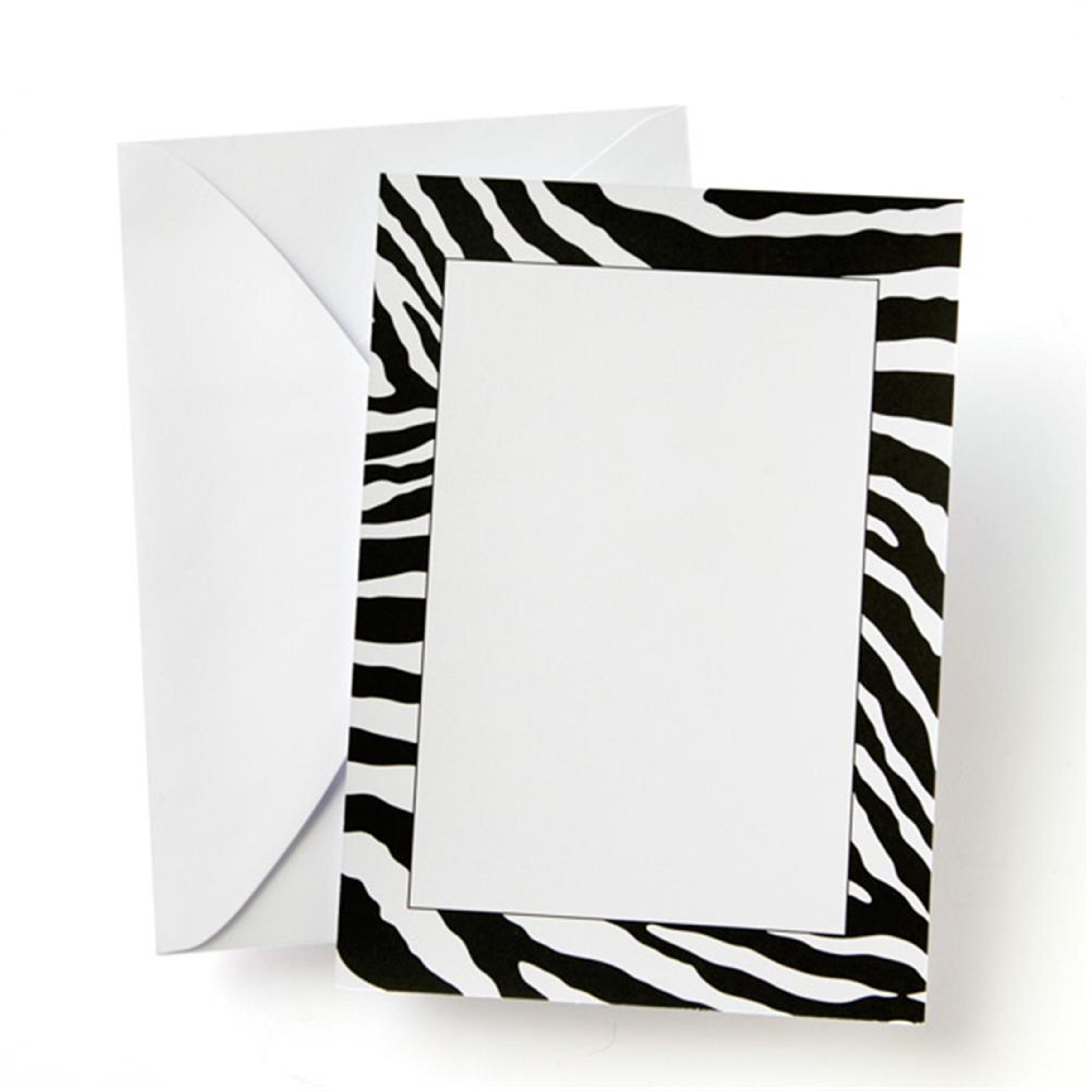 Gartner Studios Zebra Print Black And White Custom Invitations Pack