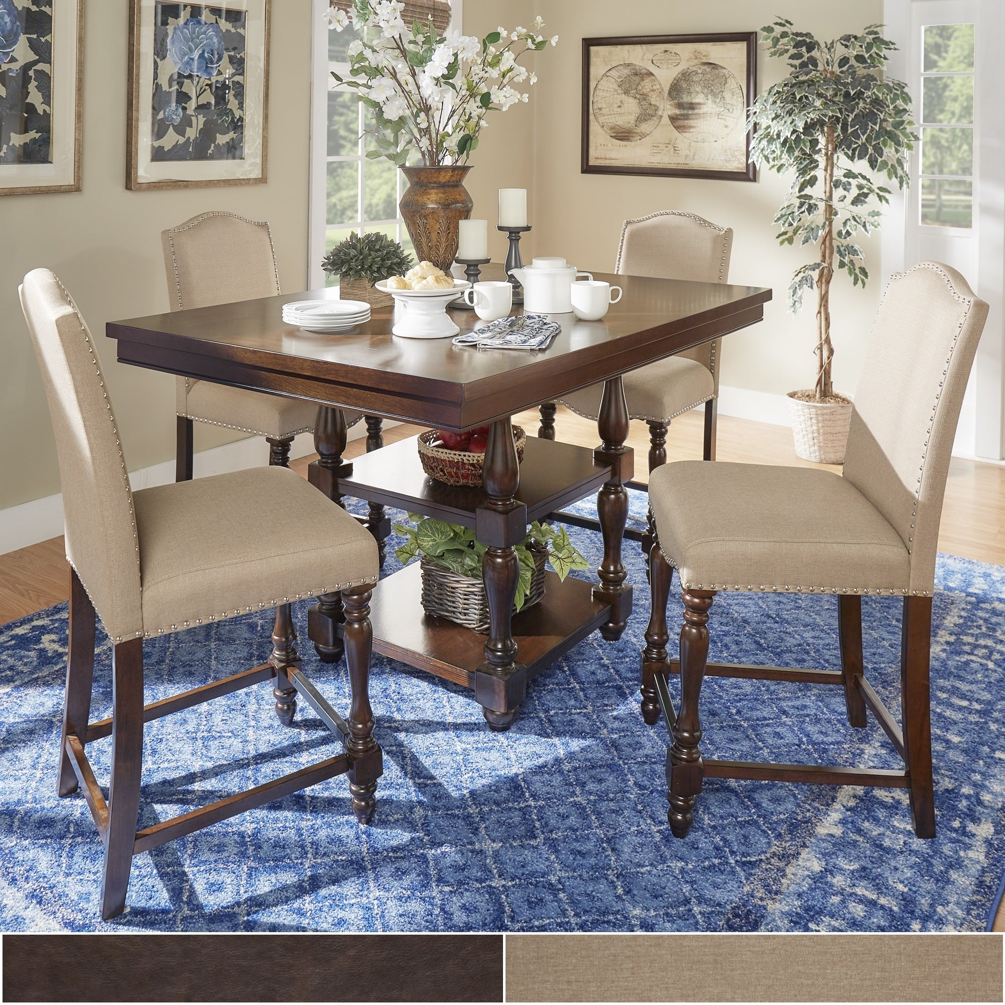 Shop Parisian Rectangular Counter Height Dining Set By INSPIRE Q Classic    On Sale   Free Shipping Today   Overstock.com   13179191