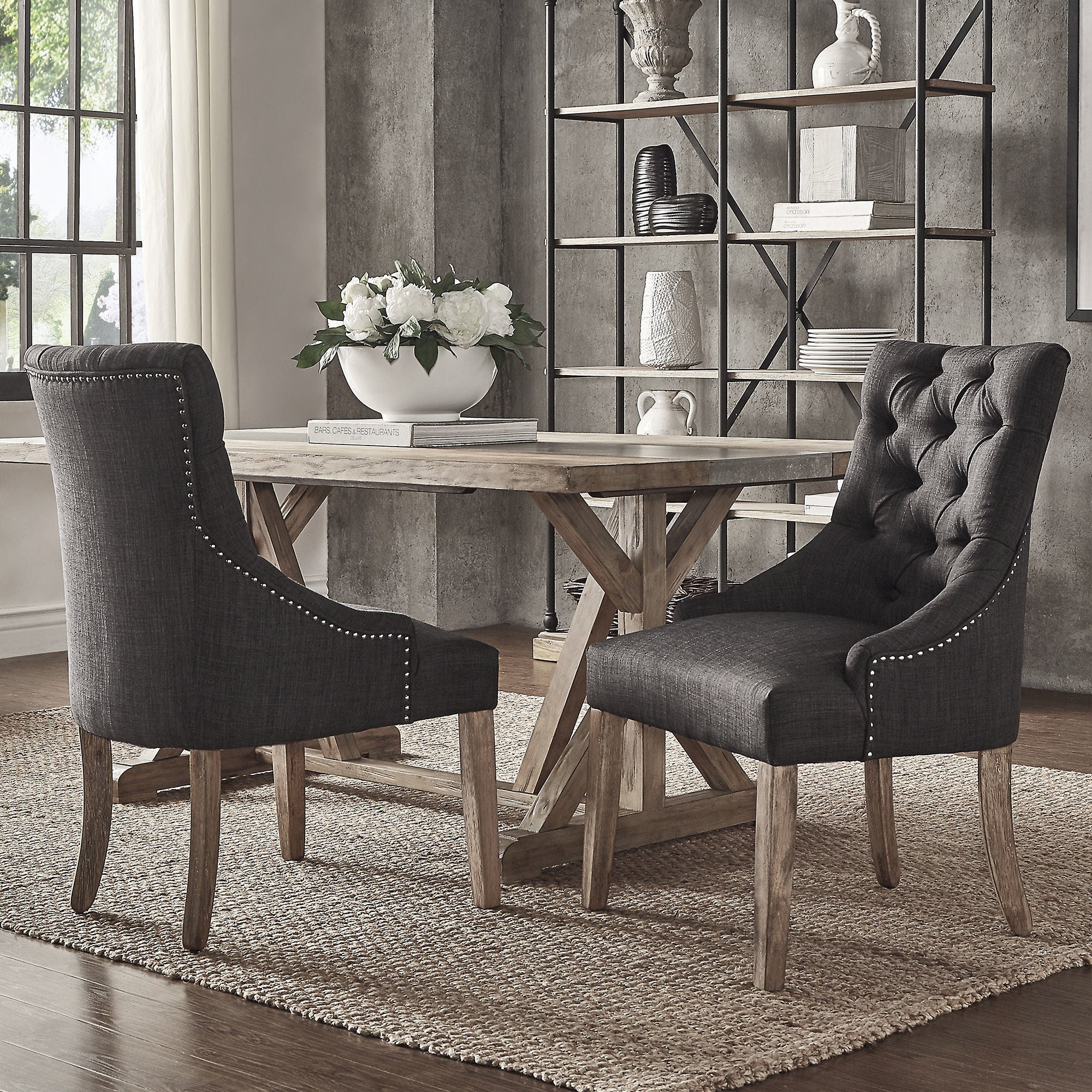 Shop Benchwright Button Tufts Wingback Hostess Chairs (Set of 2) by iNSPIRE Q Artisan - On Sale - Free Shipping Today - Overstock.com - 13179214 & Shop Benchwright Button Tufts Wingback Hostess Chairs (Set of 2) by ...