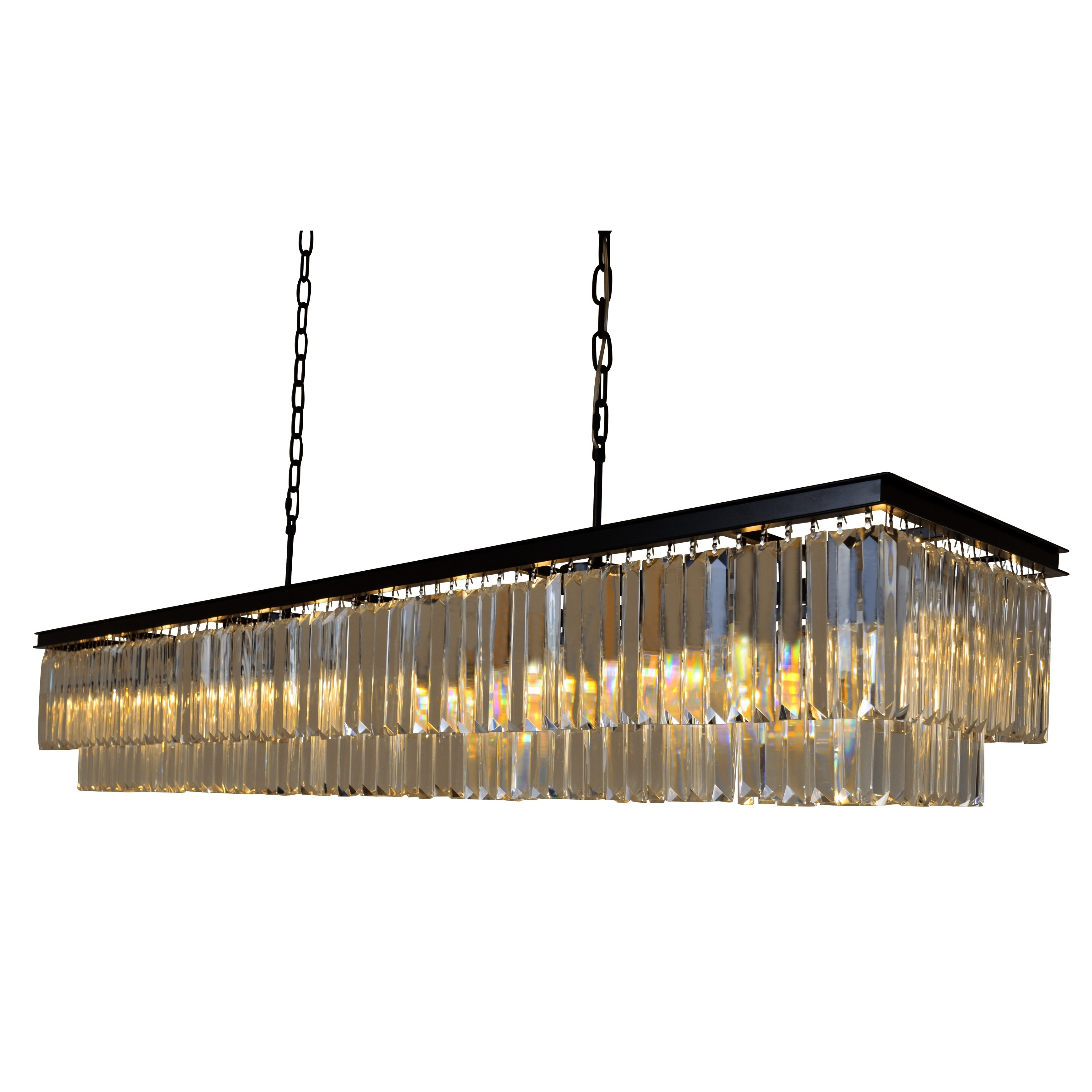 D Angelo 60 Inch Wrought Iron Rectangular Fringe Crystal Chandelier On Free Today Com 13180843