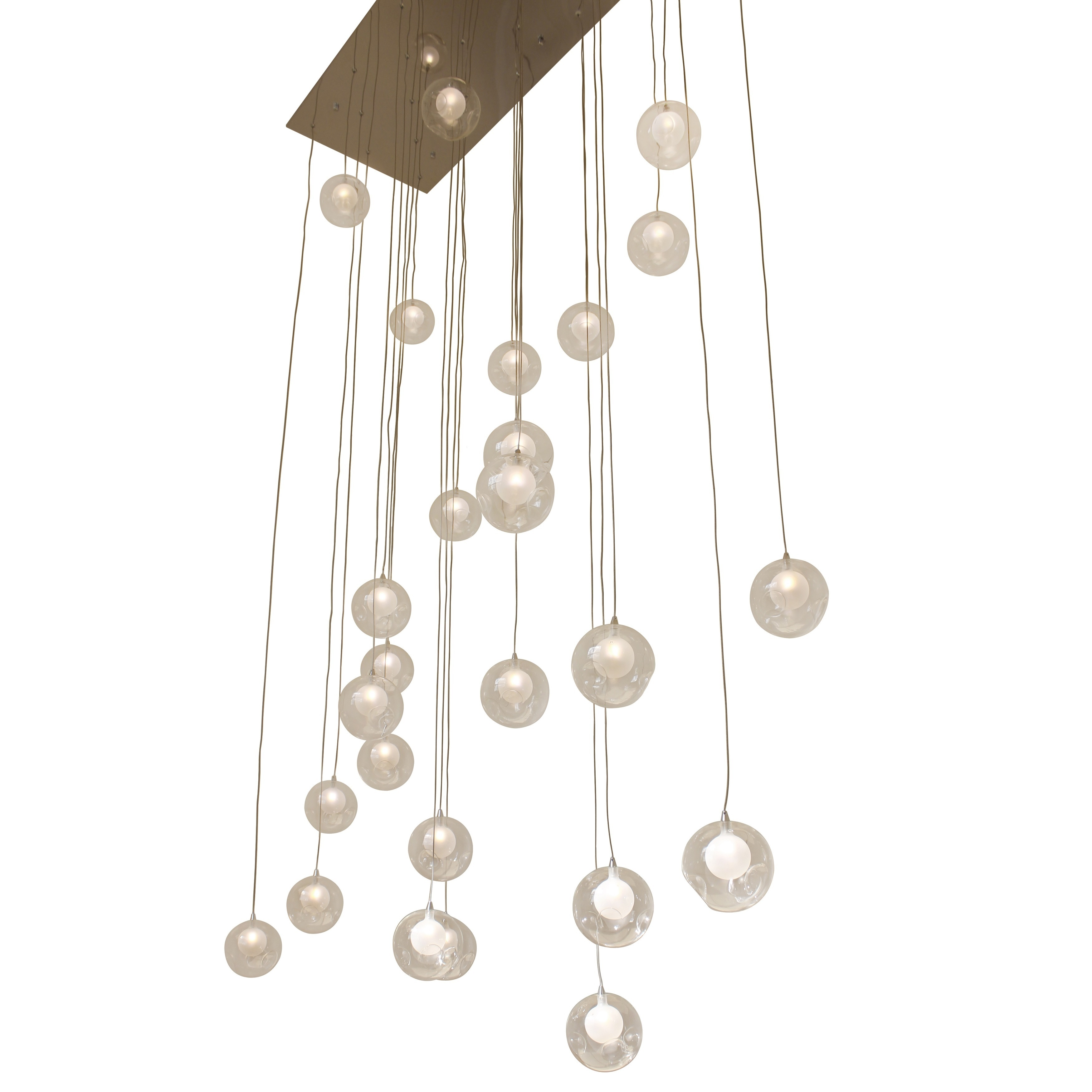 Ara 28 Light Glass Sphere Rectangular LED Chandelier Free