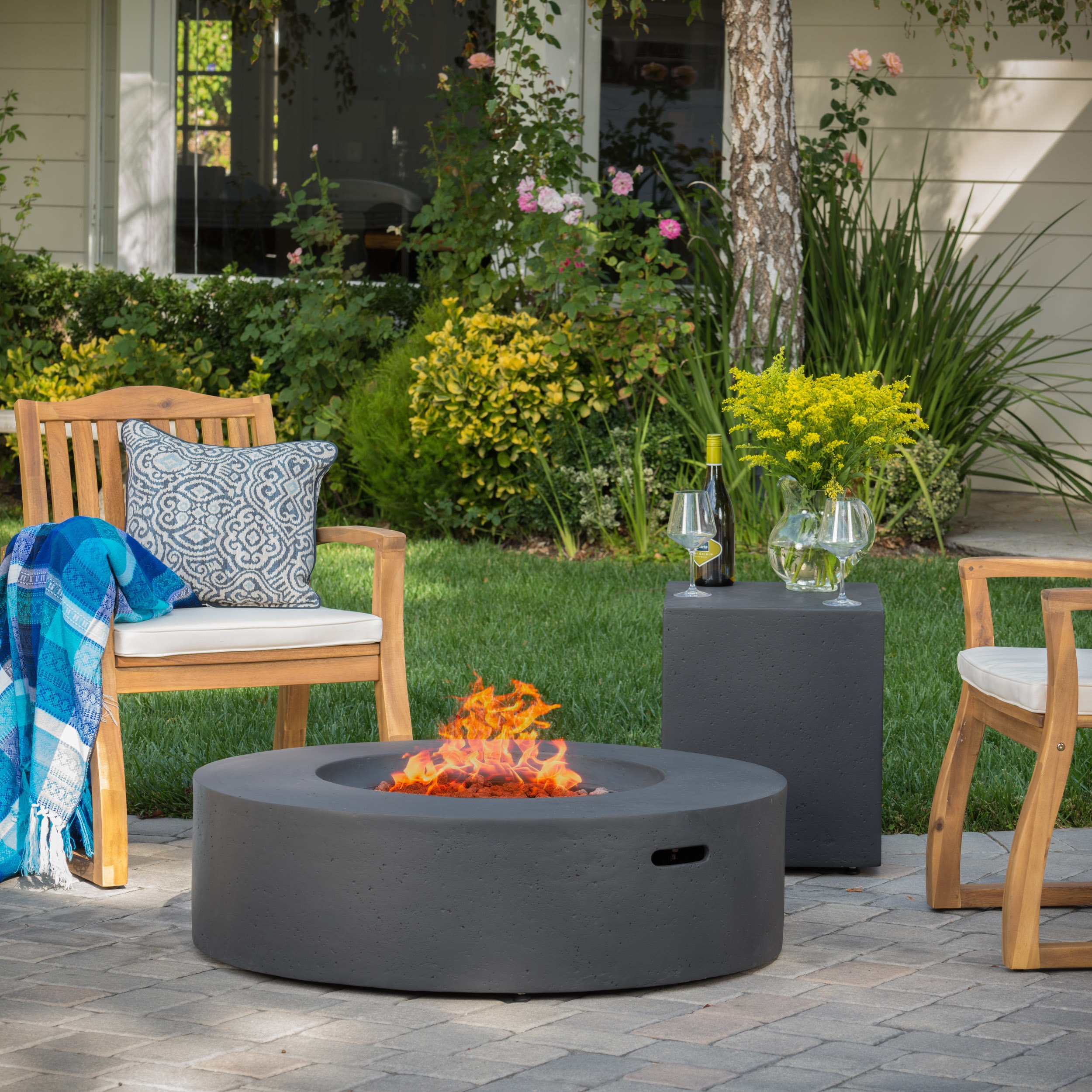Shop Santos Outdoor Circular Propane Fire Pit Table With Tank Holder By  Christopher Knight Home   On Sale   Free Shipping Today   Overstock.com    13181165