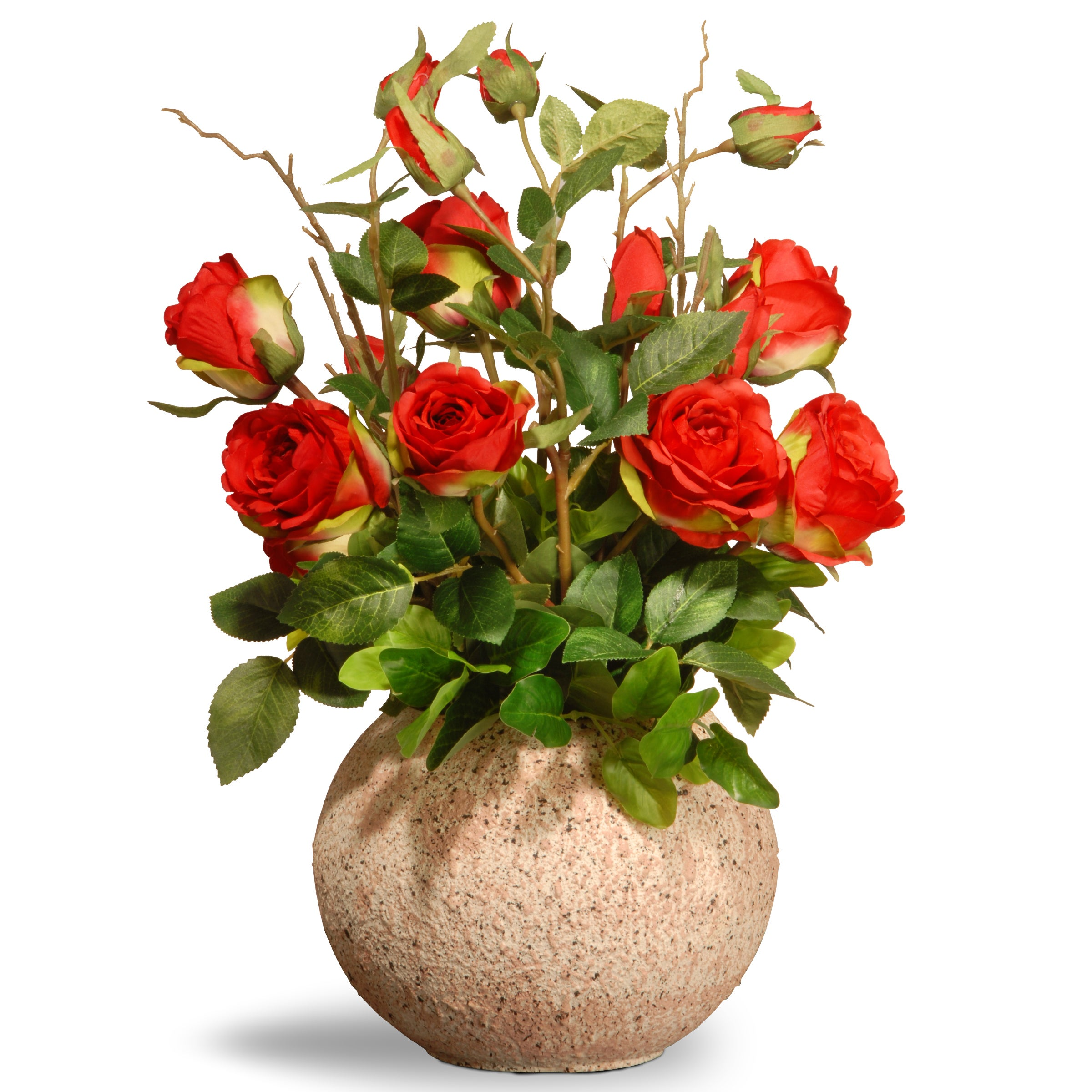 Shop National Tree Company Ceramic Potted 18 Inch Silk Rose Flowers