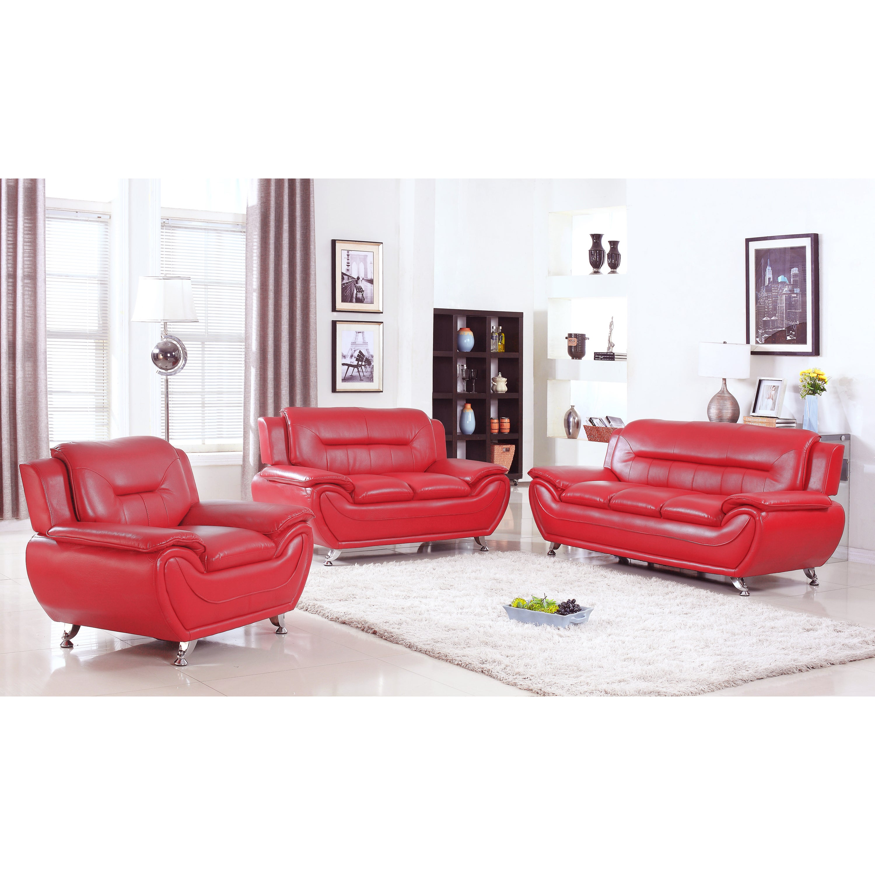 Shop alice red faux leather 3 piece modern living room set free shipping today overstock com 13181756