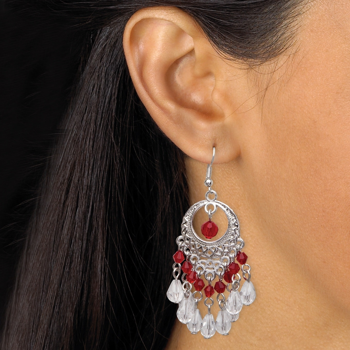 Color fun silvertone red crystal chandelier earrings free shipping color fun silvertone red crystal chandelier earrings free shipping on orders over 45 overstock 19910544 arubaitofo Choice Image
