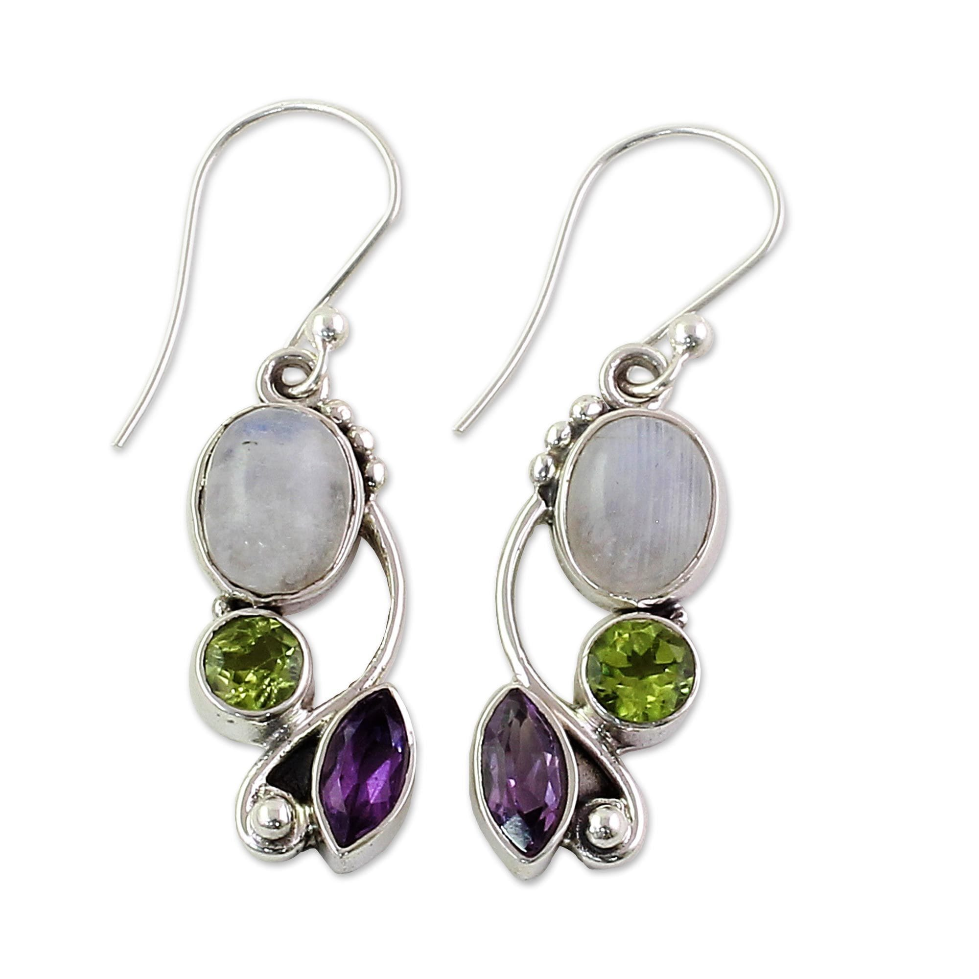 Handmade Sterling Silver Natural Glamour Multi Gemstone Earrings India White On Free Shipping Orders Over 45