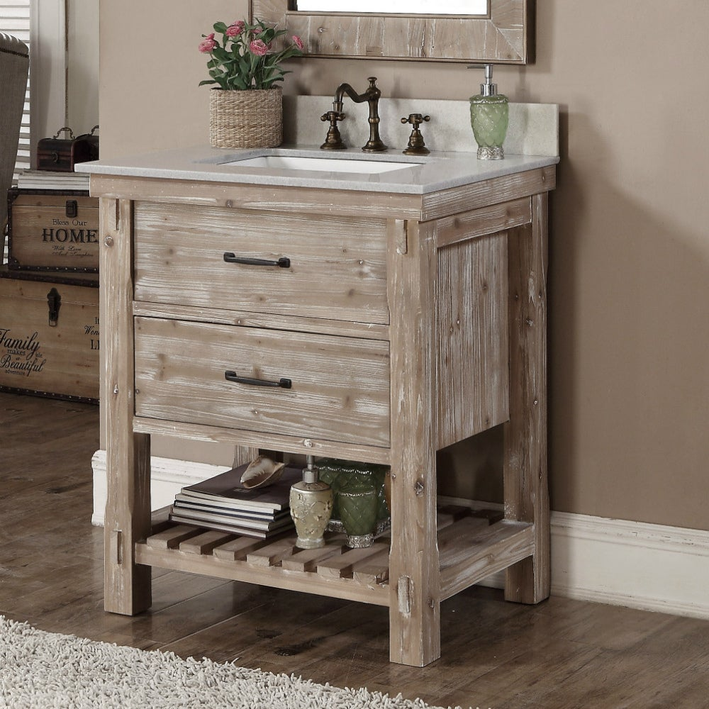 Superbe Infurniture Rustic Style Brown Recycled Fir And Quartz Marble 30 Inch  Single Sink Bathroom Vanity