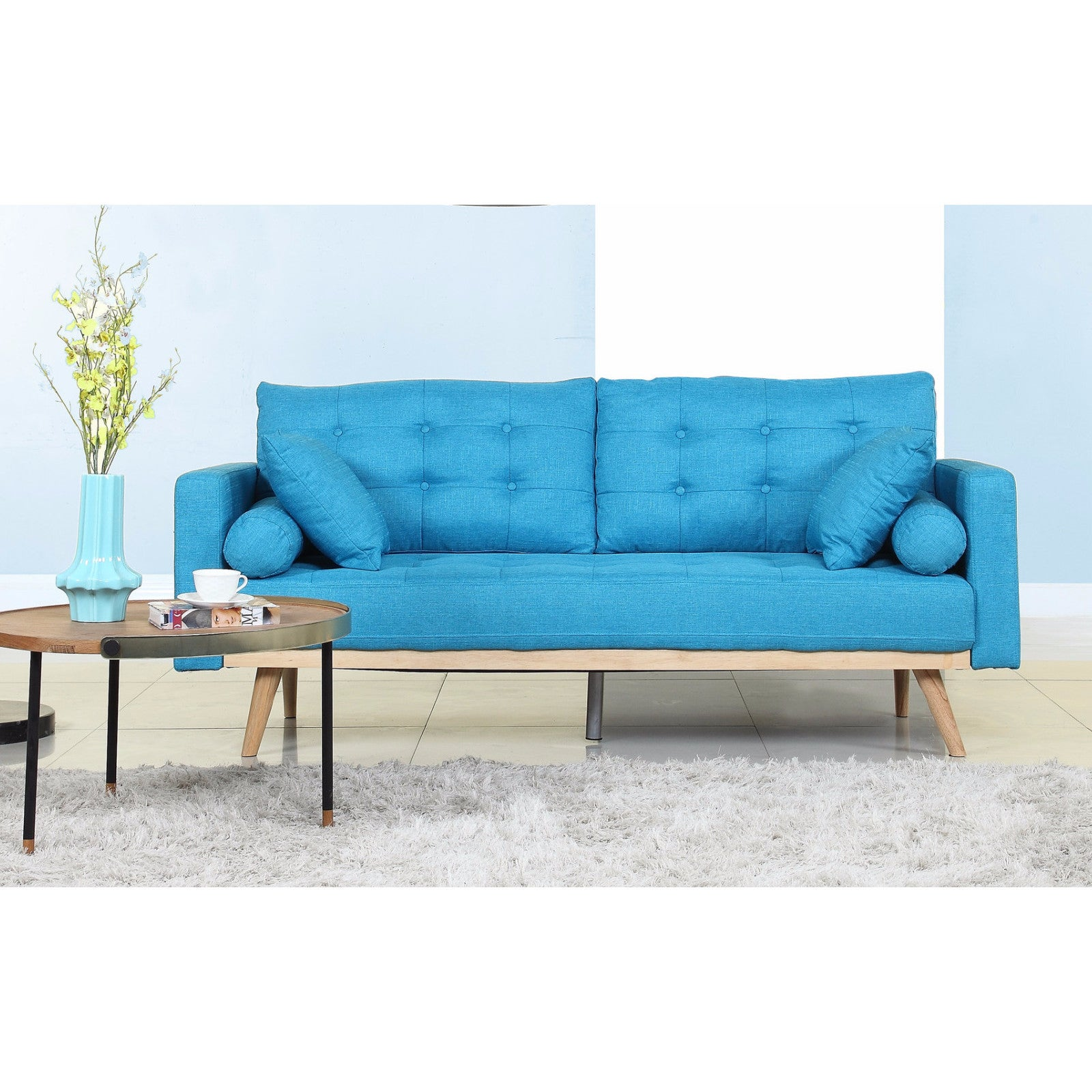 Tufted Linen Mid Century Modern Sofa Free Shipping Today 13189477