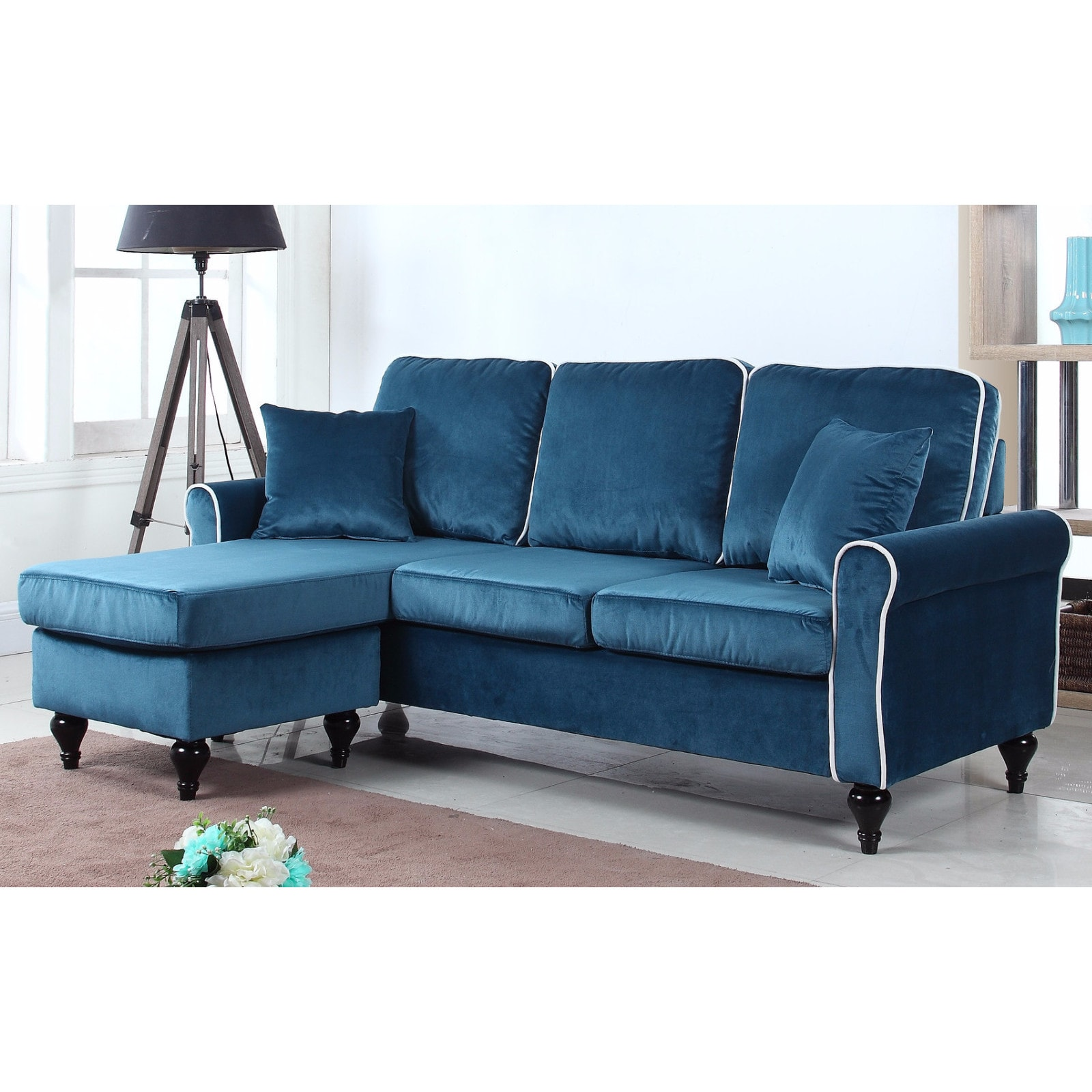 Shop traditional small space velvet sectional sofa with reversible chaise free shipping today overstock com 13190443