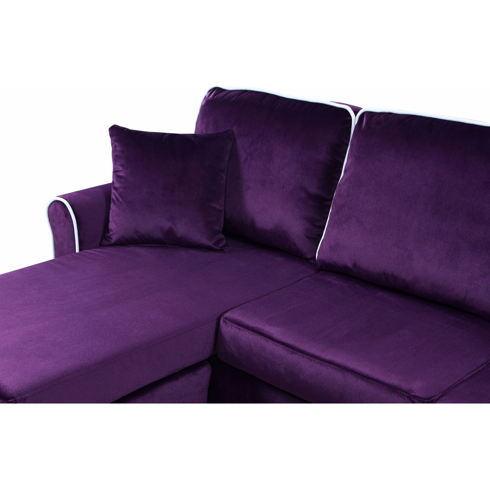 Traditional Small Space Velvet Sectional Sofa With Reversible  ~ Small Space Sofa With Chaise