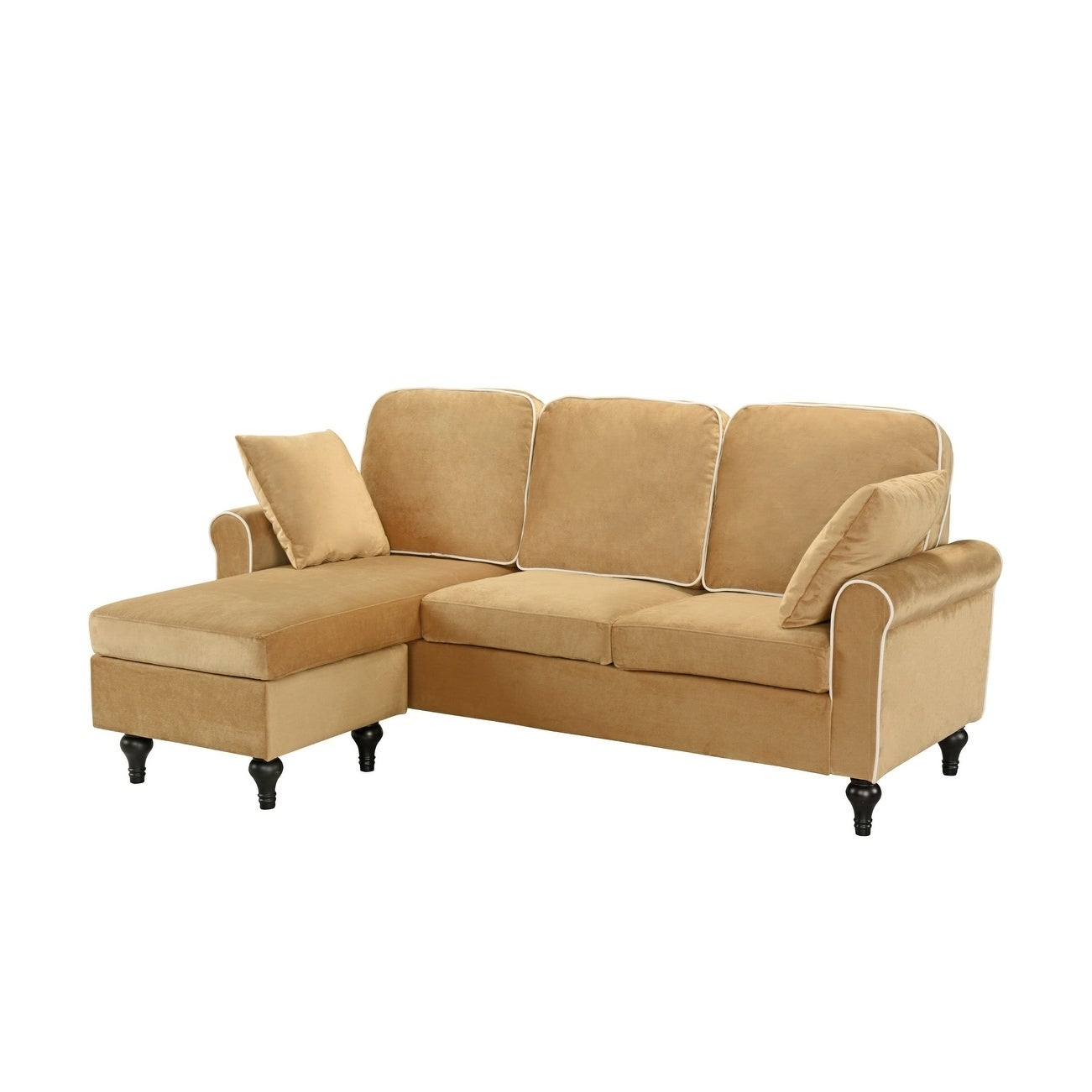 Traditional Small E Velvet Sectional Sofa With Reversible Chaise Free Shipping Today 13190443
