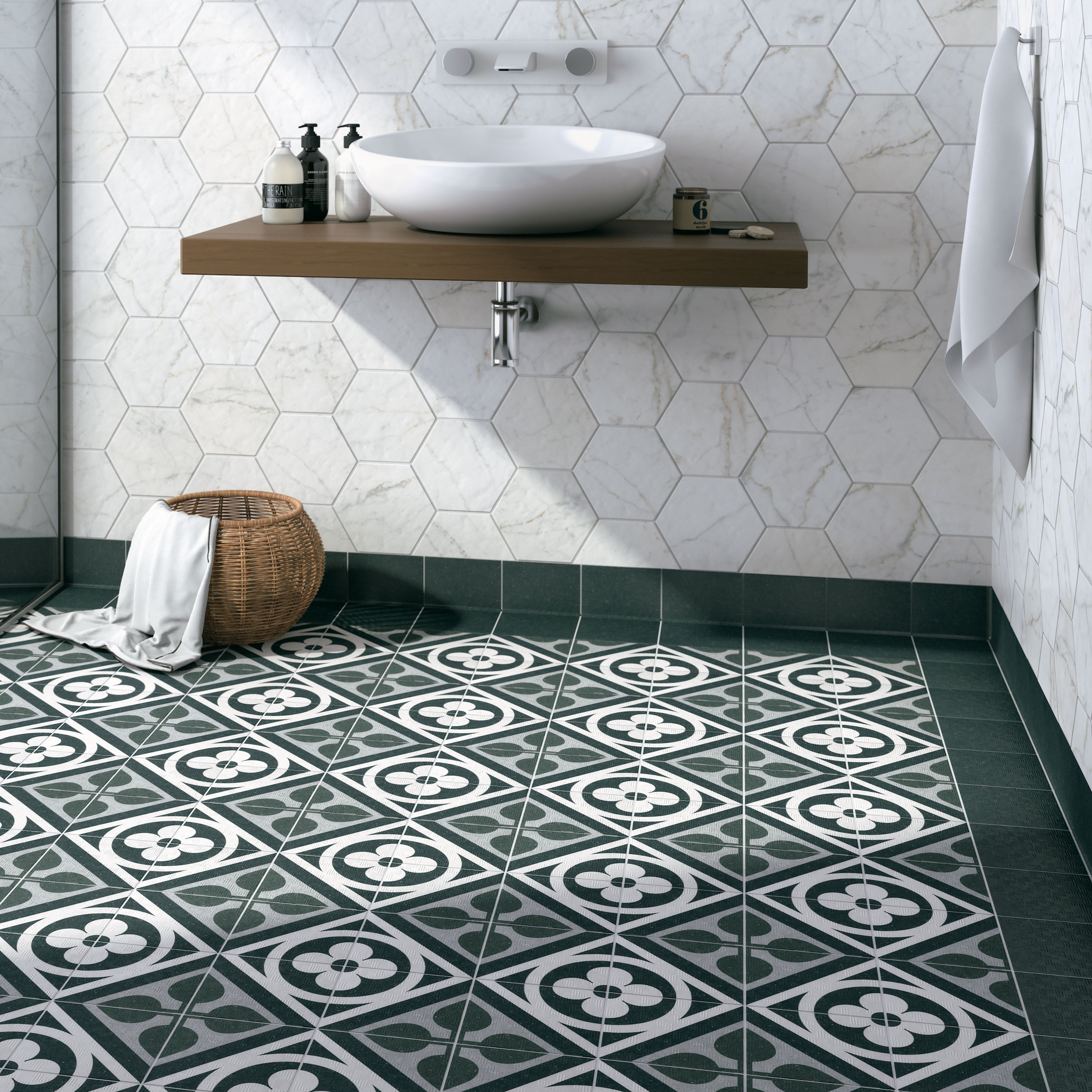 Somertile 6x6 inch zona flower black porcelain floor and wall tile somertile 6x6 inch zona flower black porcelain floor and wall tile 44case 1194 sqft free shipping today overstock 19912382 dailygadgetfo Image collections