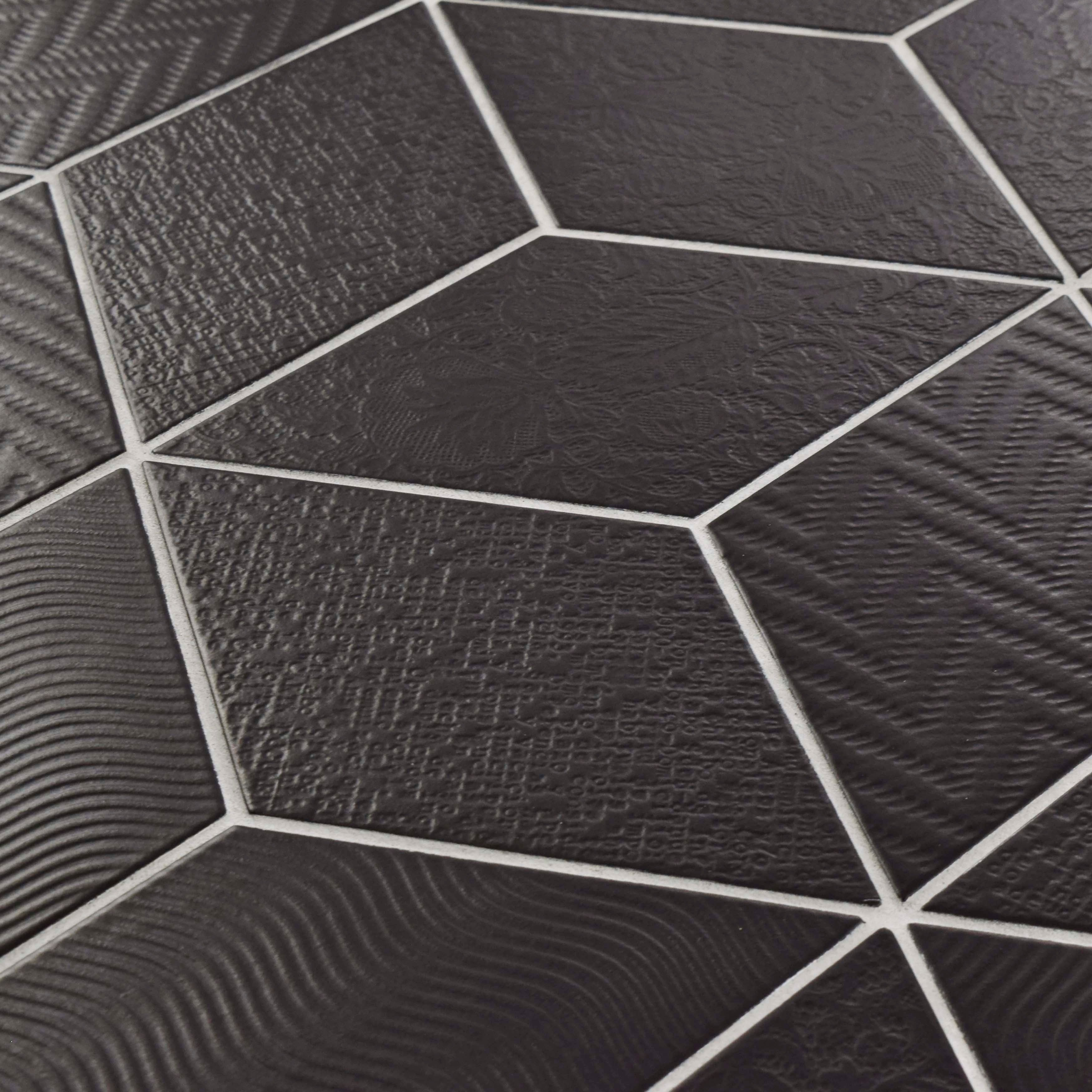 Somertile 55x95 inch rombo black porcelain floor and wall tile somertile 55x95 inch rombo black porcelain floor and wall tile 60 tiles1168 sqft free shipping today overstock 19912389 dailygadgetfo Image collections