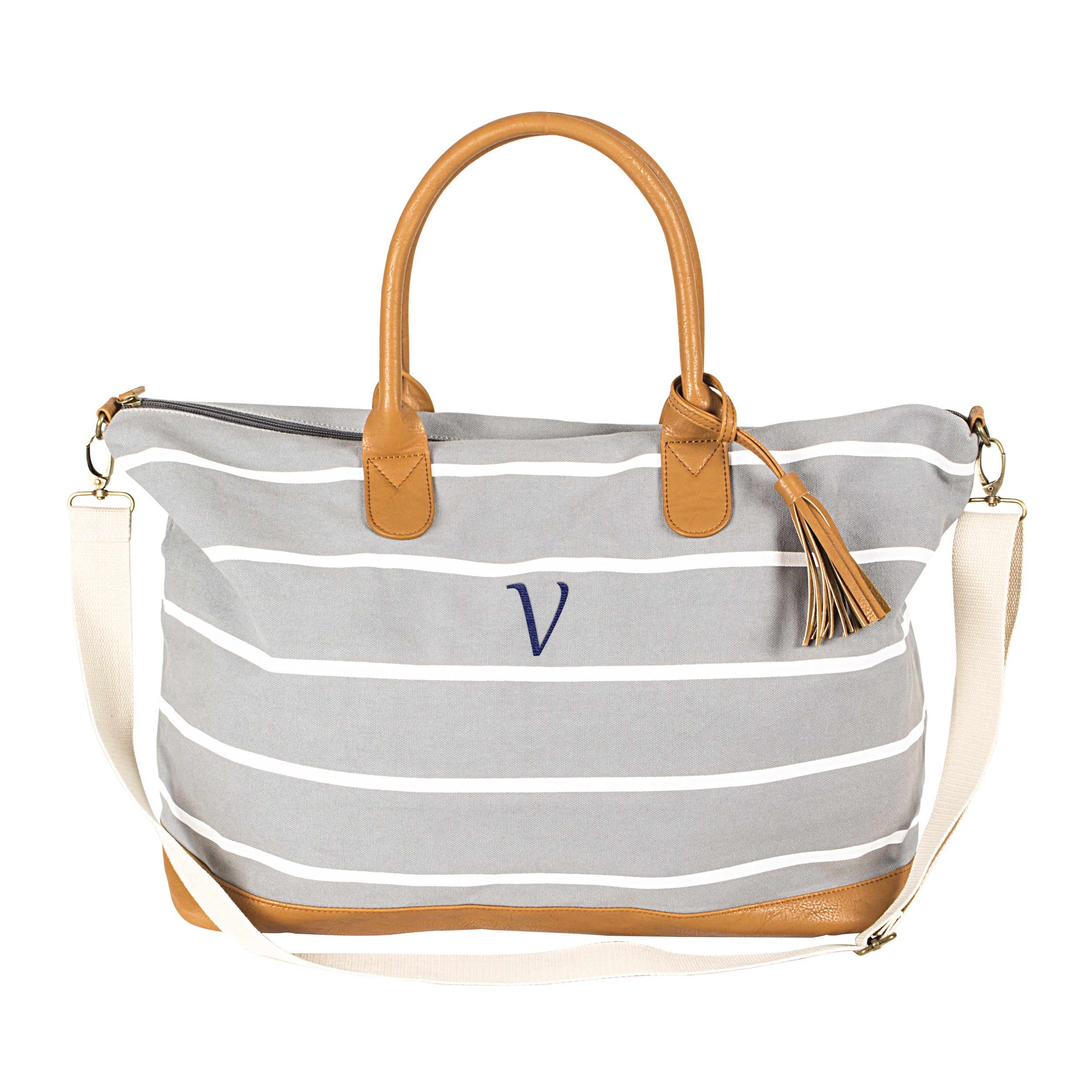 Personalized White Striped Grey Canvas Weekender Bag On Free Shipping Orders Over 45 13192577