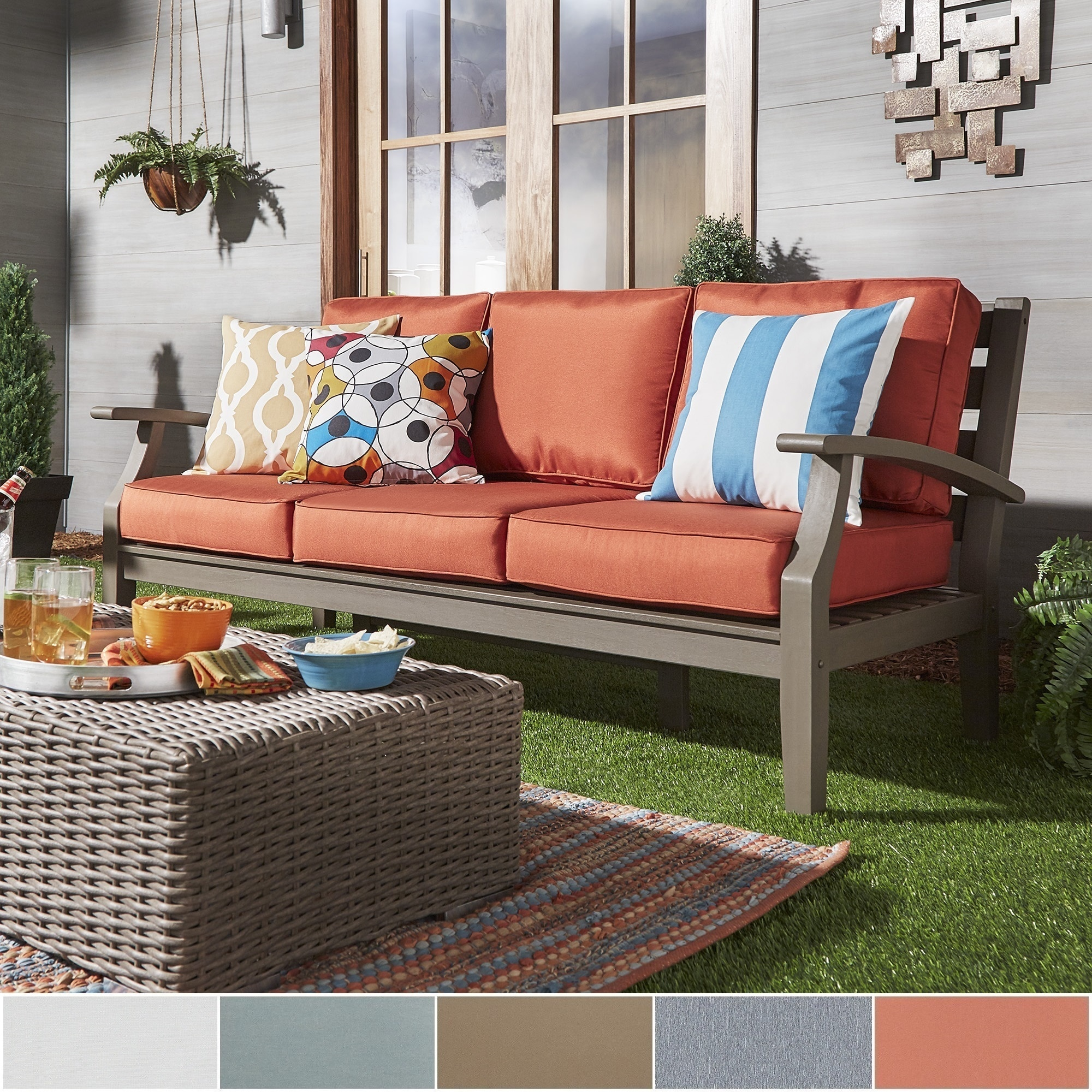 Yasawa Grey Modern Outdoor Cushioned Wood Sofa iNSPIRE Q Oasis - Free  Shipping Today - Overstock.com - 19913993