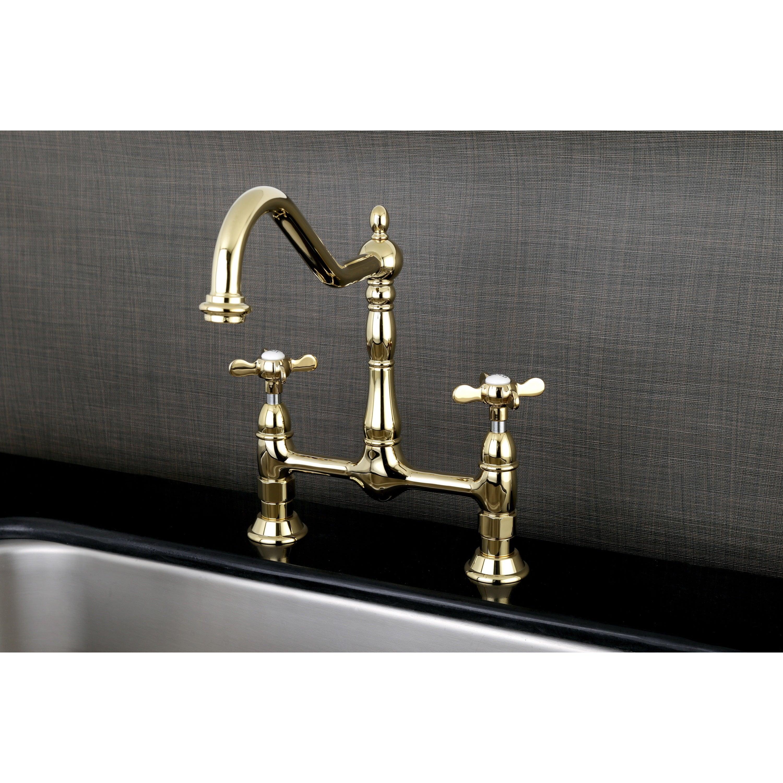 Shop Victorian High Spout Bridge Cross-Handles Kitchen Faucet - On ...
