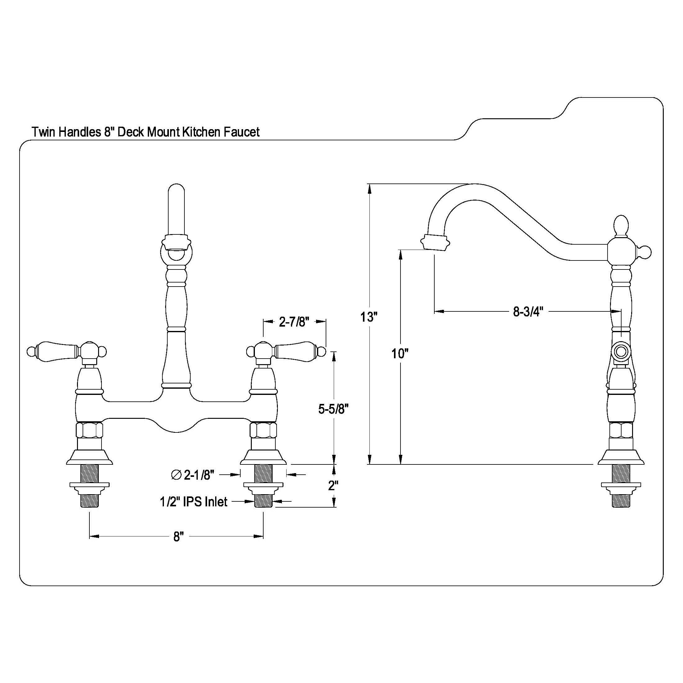 Shop Victorian High Spout Bridge Lever Handles Kitchen Faucet Free Diagram Of Parts For Hamilton Centerset Two Handle Bathroom Shipping Today 13194105