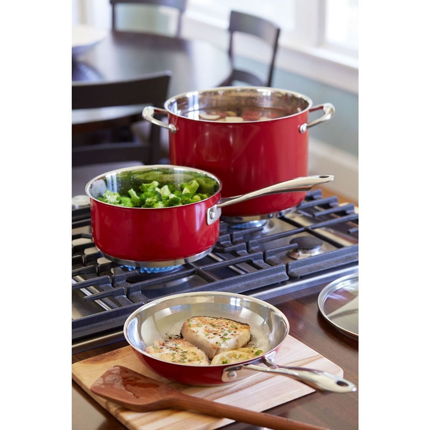 Shop KitchenAid 14 Piece Stainless Steel Empire Red Cookware Set   Free  Shipping Today   Overstock.com   13205443