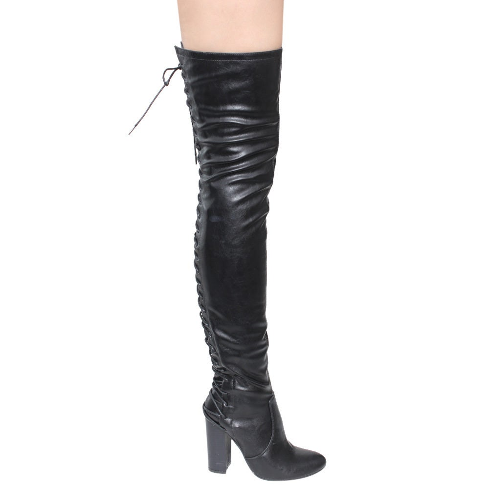 061158d3 Chase & Chloe Women's Thigh-High Corset Lace-Up Stacked High-Heel Boots