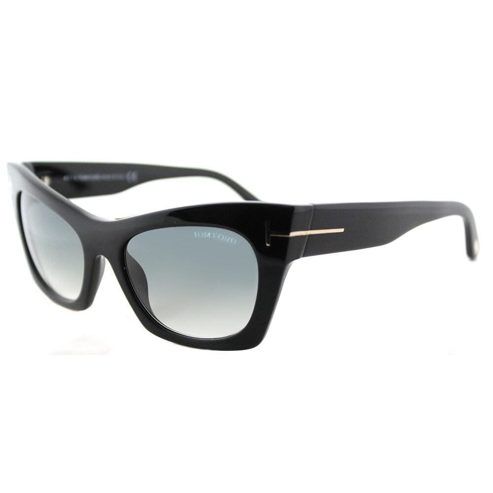 dea1dcadf4b Shop Tom Ford Kasia Black Cat-Eye Sunglasses with Grey Gradient ...
