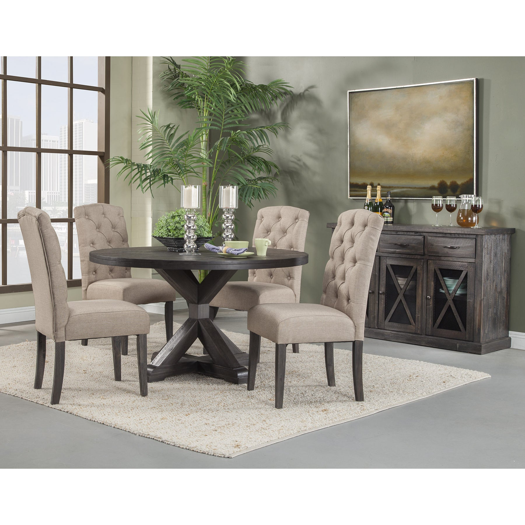 Alpine Newberry Round Dining Table Free Shipping Today Overstock