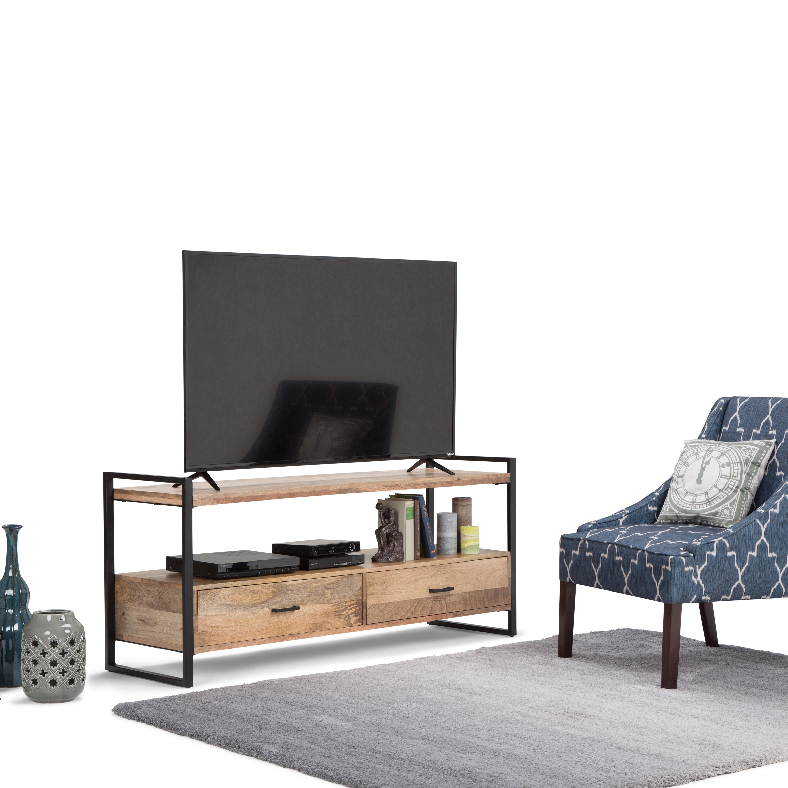 WYNDENHALL Lawson Natural Mango Wood 60-inch TV Media Stand for TVs ...