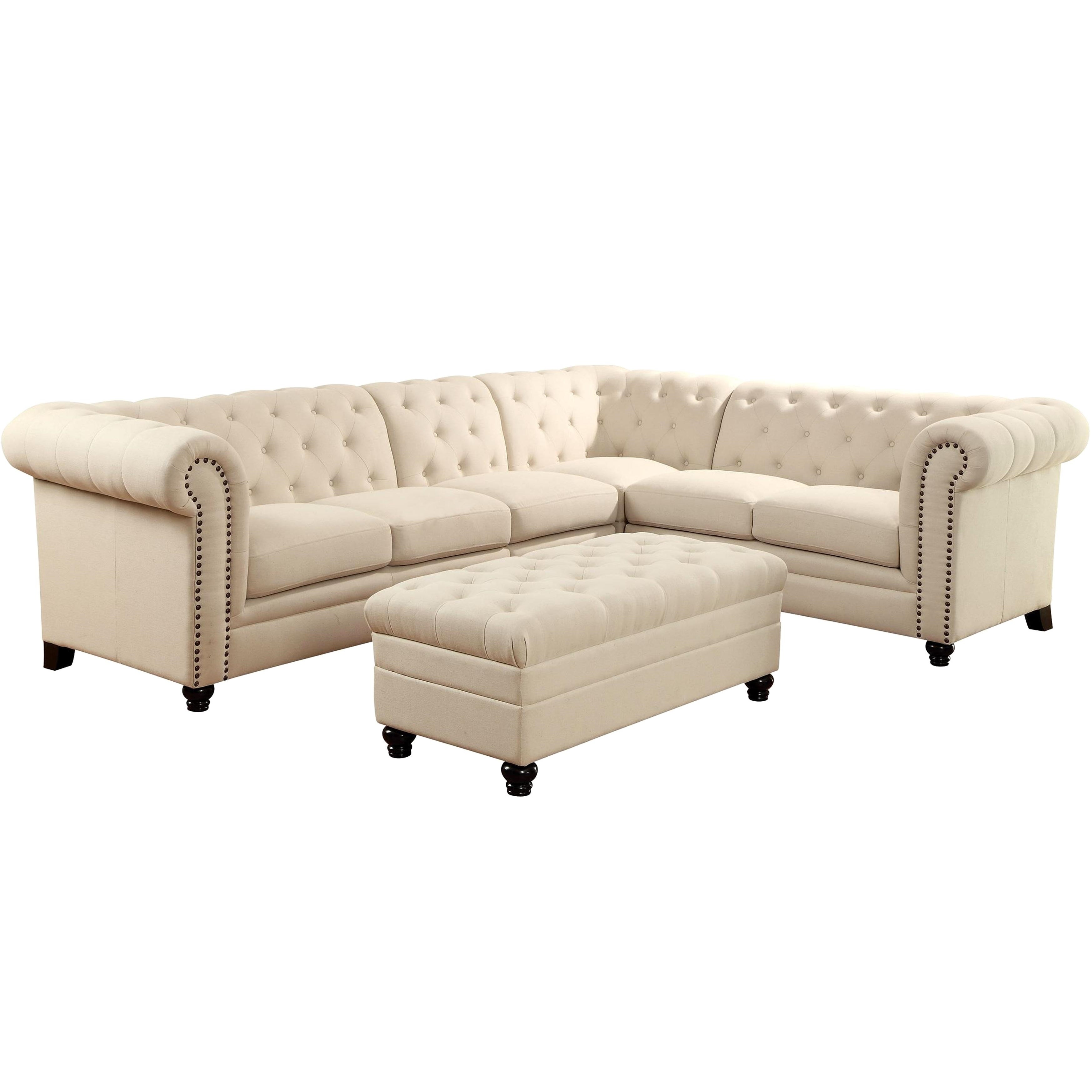 Shop Royal Mid Century Button Tufted Design Living Room Extended Sectional  Sofa With Decorative Nailhead Trim   Free Shipping Today   Overstock.com    ...