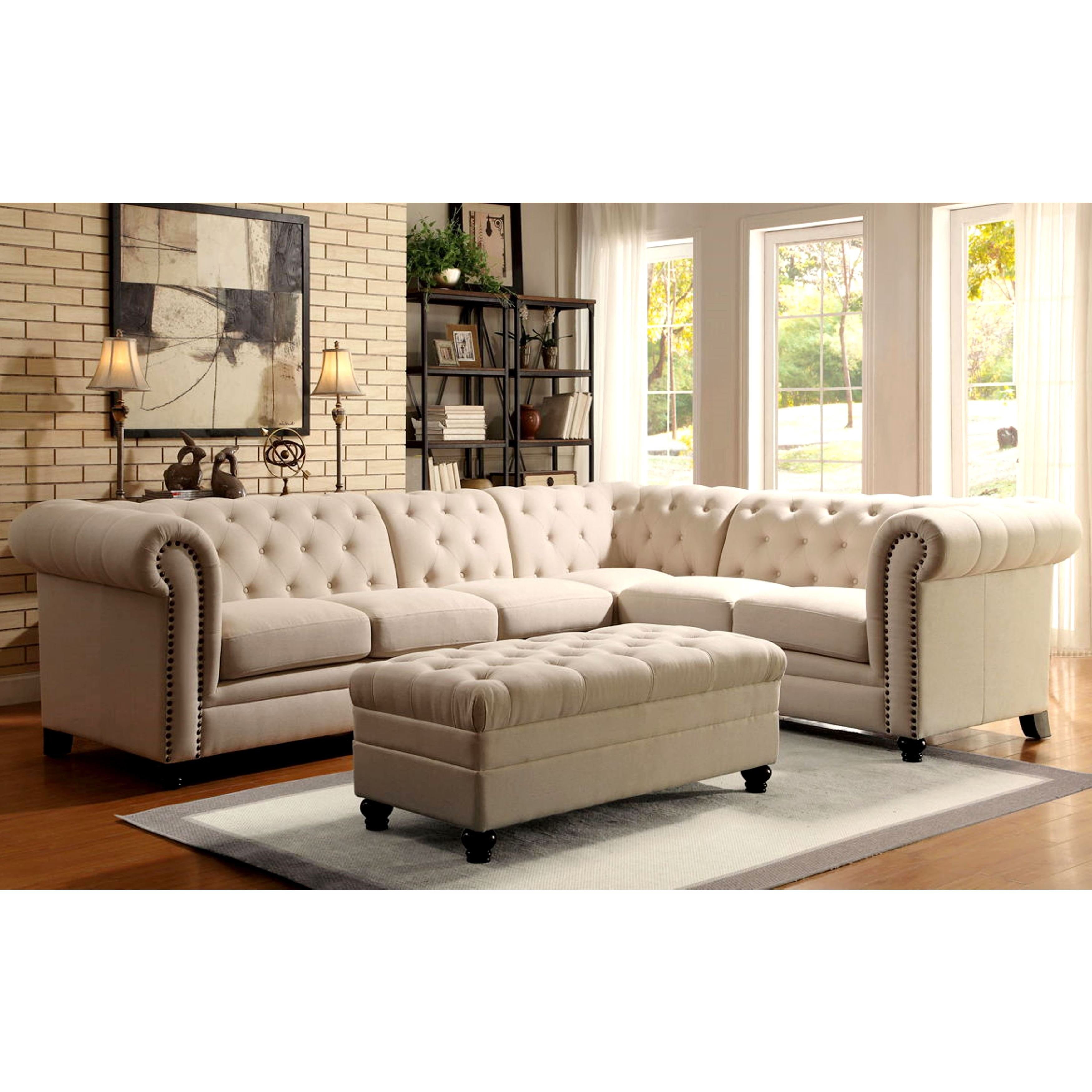 Royal Mid Century Button Tufted Design Living Room Extended  ~ Nailhead Trim Sectional Sofa
