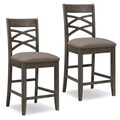 KD Furnishings Moss Heather Seat Wood Double Crossback Counter-height Stools (Set of 2)