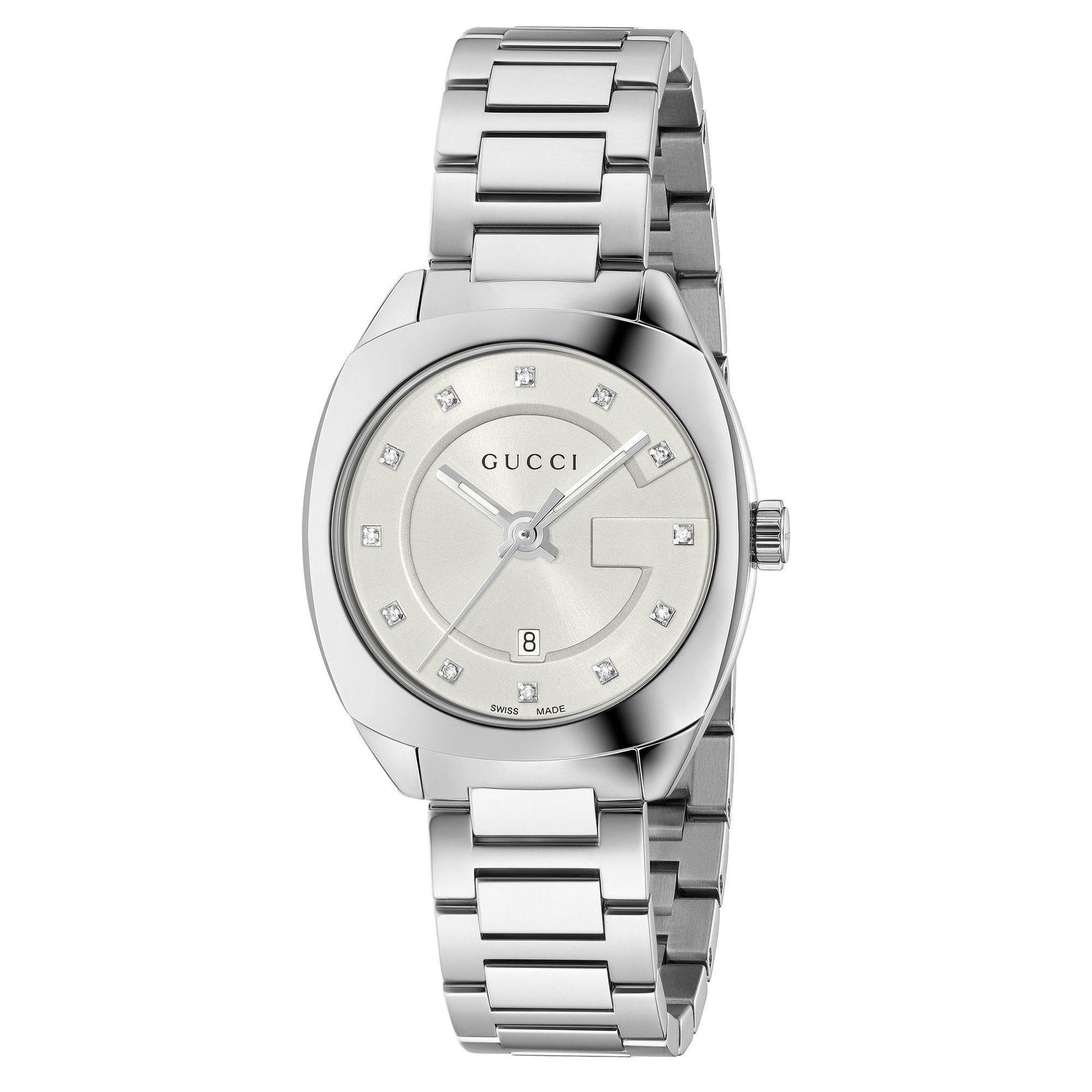 f68d4bc798a Shop Gucci Women s  GG2570 Small  Diamond Stainless Steel Watch - Free  Shipping Today - Overstock - 13211874