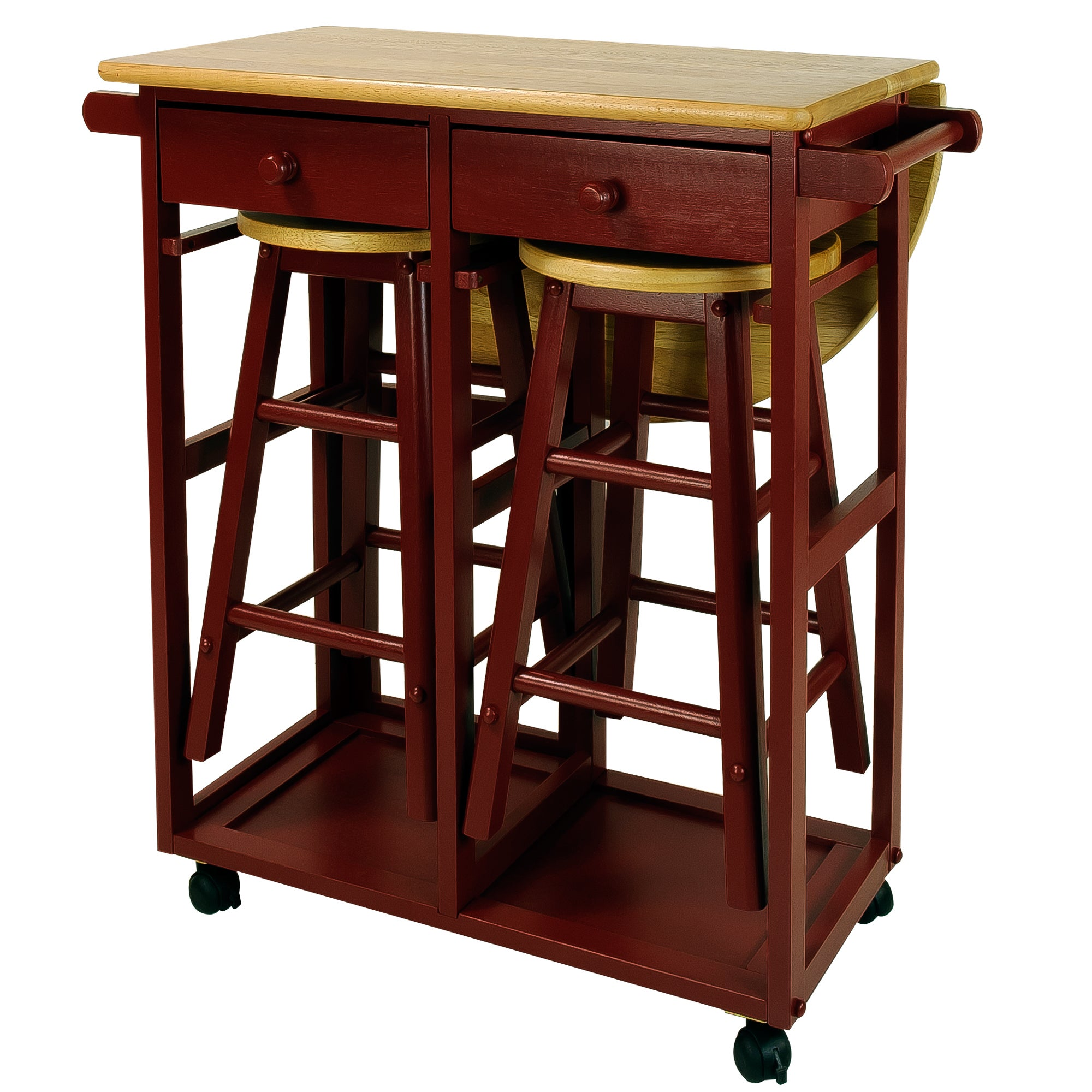 Shop Arts And Crafts Breakfast Cart With Drop Leaf Table   Free Shipping  Today   Overstock.com   13211961